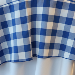 "Blue & White Check  Available In: 90"" Round"