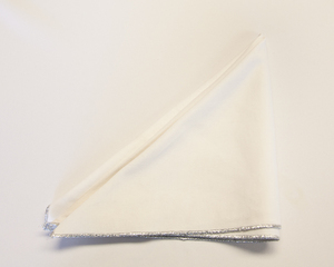 White Napkin with Silver Trim