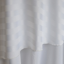 "White Stripe Poly  Available In:  Rounds: 120""  Banquets: 90""x132""