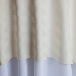 "Ivory Stripe Poly  Available In:  Rounds: 120""  Banquets: 90""x132""