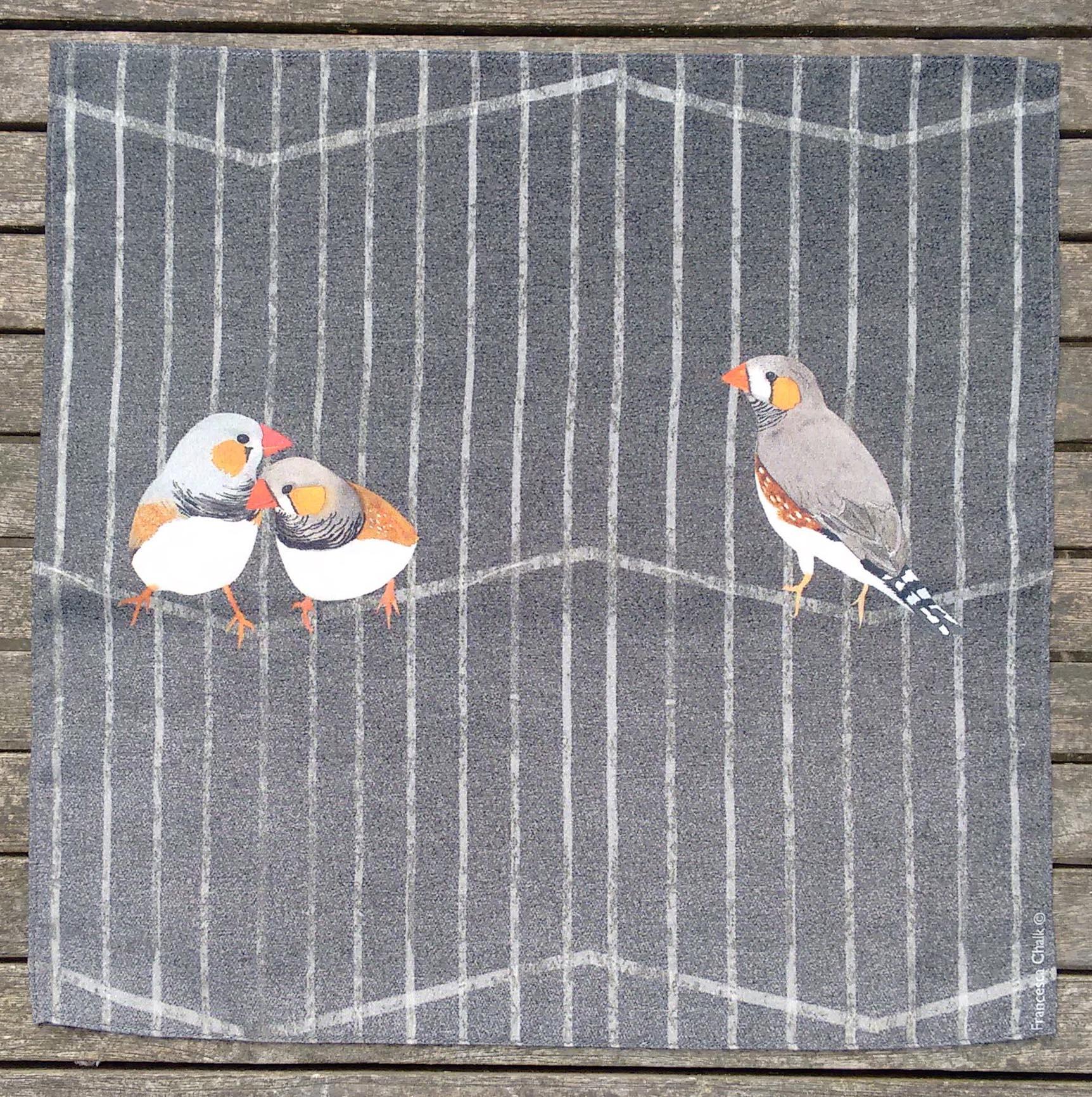 Zebra Finches silk handkerchief