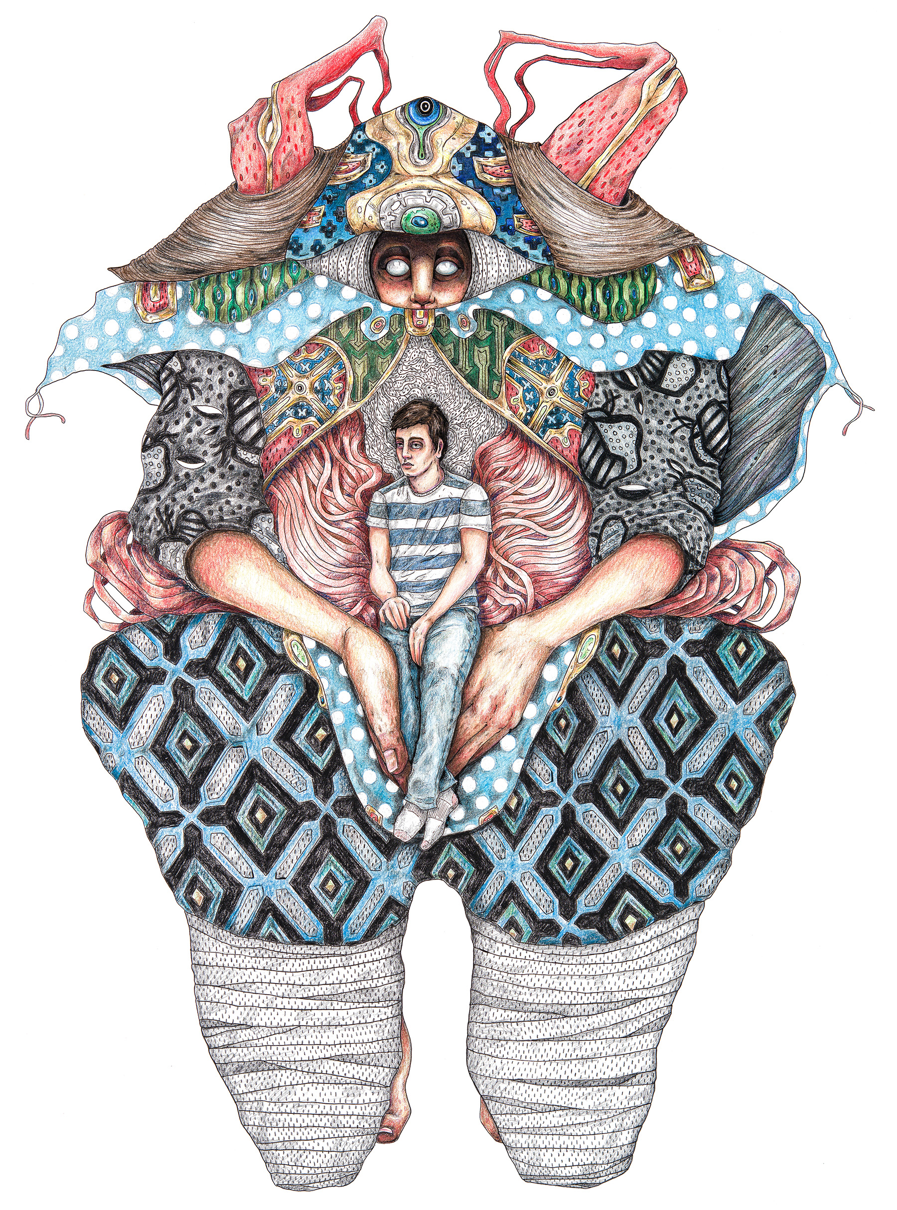 """""""It Carries Me"""" Colored pencil, ink, and graphite on Bristol 18""""24"""""""