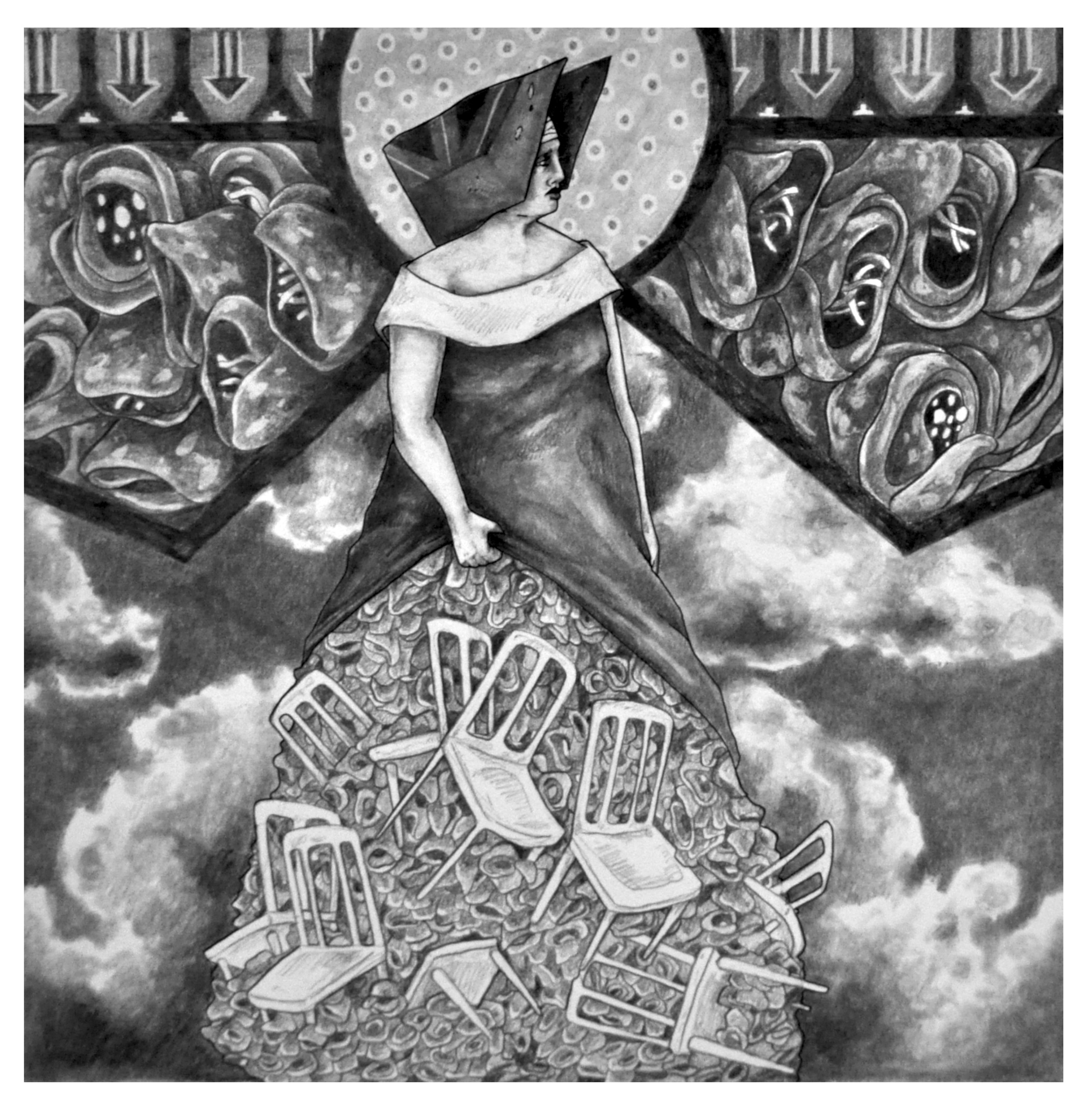 """""""Hoarder: Stability"""" 12x12 Graphite and Ink on Bristol"""