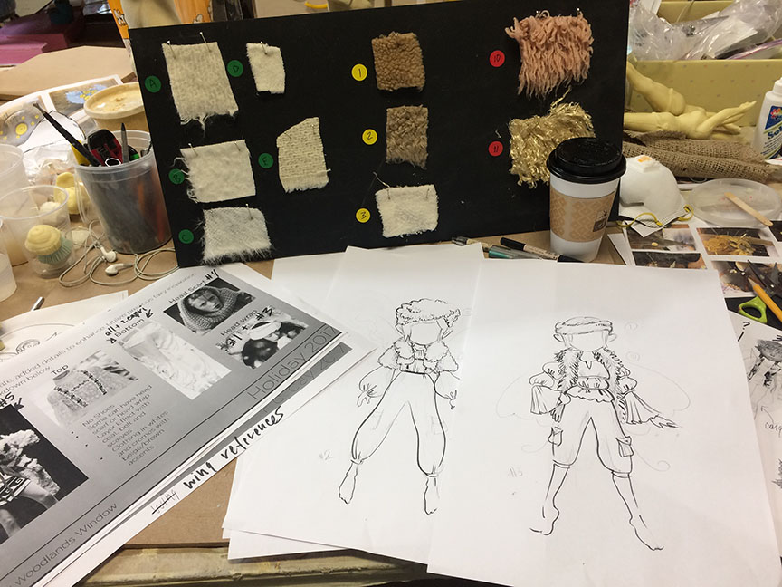 creating concept designs for tiny fairies for Lord & Taylor 2017 Holiday at Spaeth Design in New York.