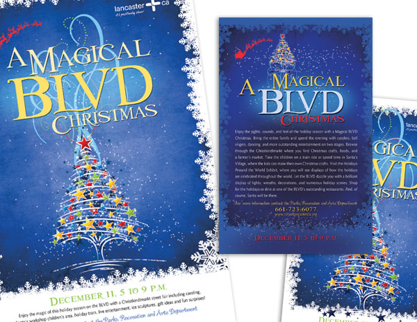 Holiday Event Posters, Street Banners, and Postcards