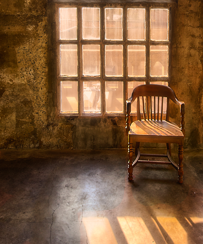 Sunlight and chair at Mercer Museum
