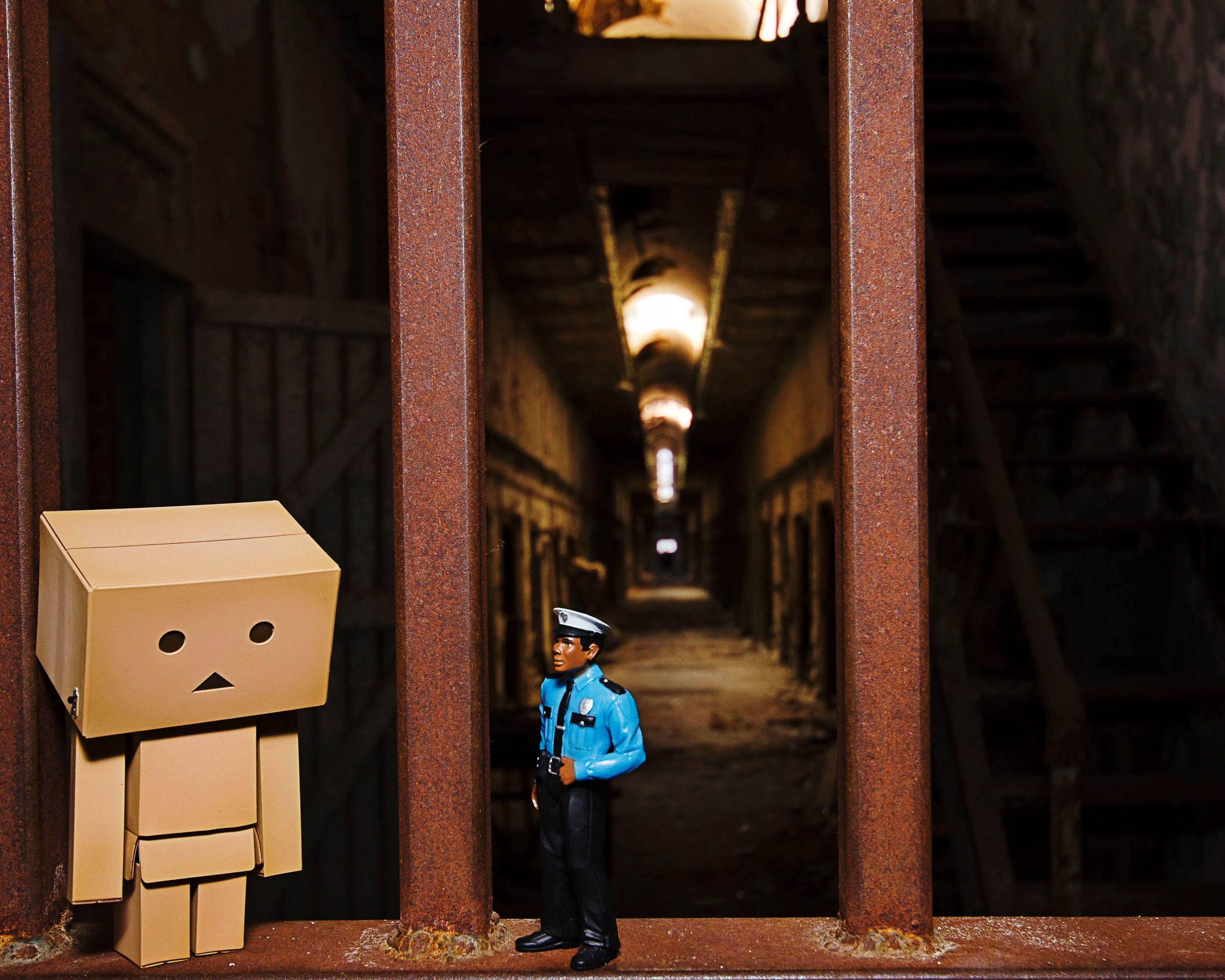 Danbo begins the long walk of shame at Eastern State Penitentiary.  Will he be in forever ?  Stay tuned...