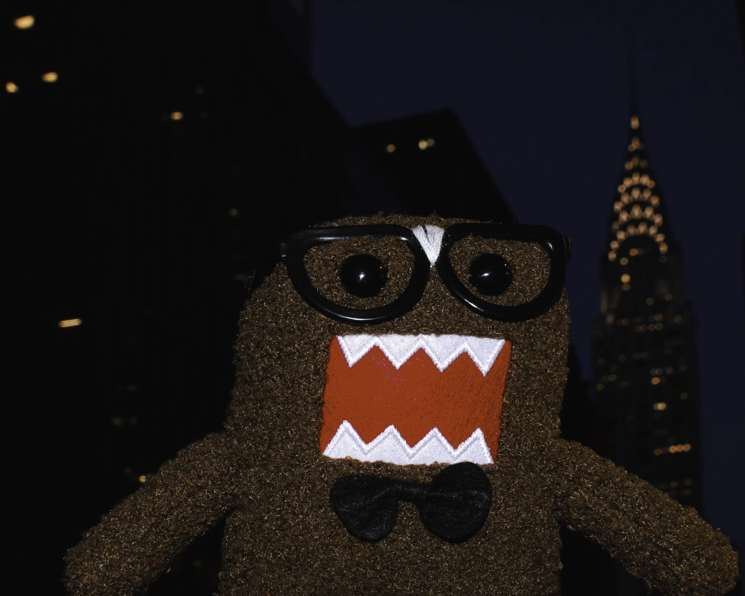Domo goes sightseeing in a very cold New York City.