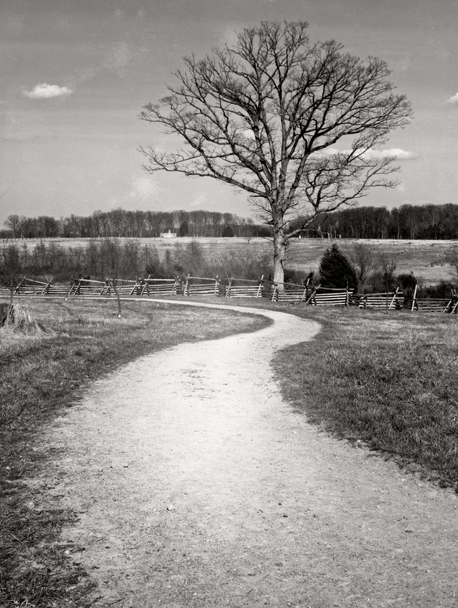 A curved horse path on the Tostle Farm at Gettysburg.