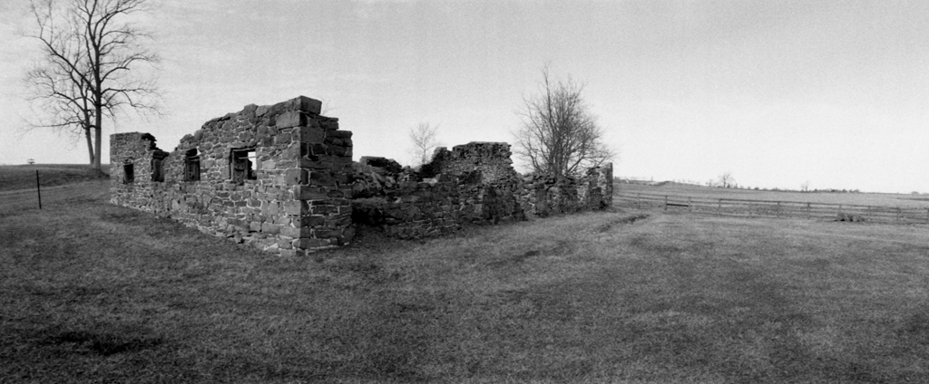 The remains of the main barn on the George Rose Farm at Gettysburg. Burned in 1910, the result of a lightning strike.