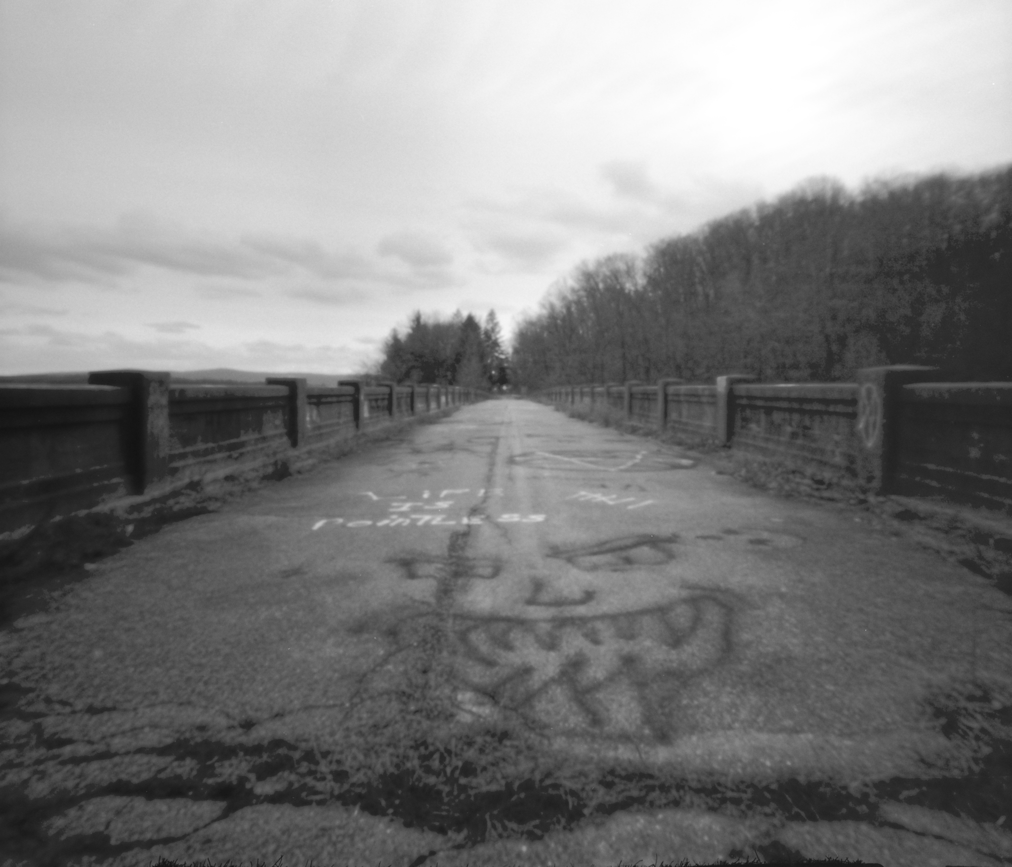 Lake Ontelaunee abandoned West Shore Bridge. Ontelaunee Township, Pennsylvania. Zero Image 6x9 using 6x7 mode.