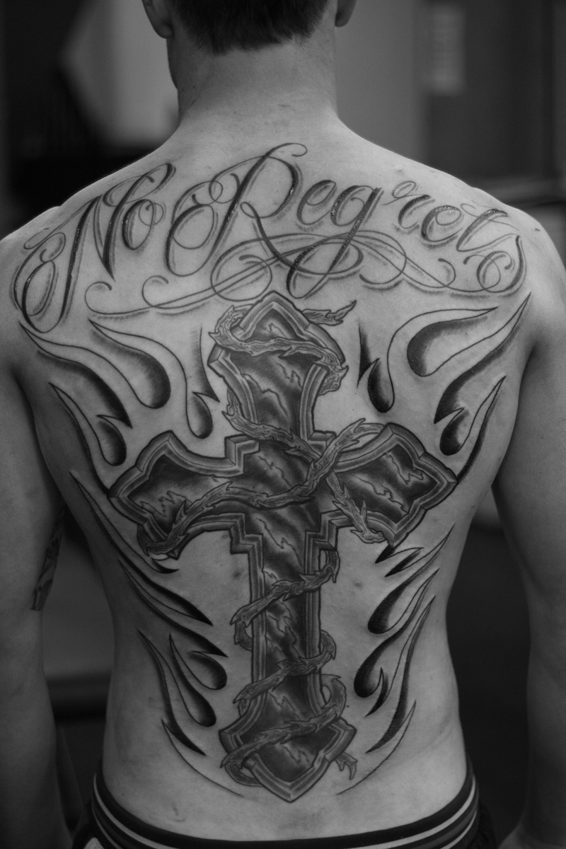 Cross Tattoo Script Tattoos Rhys Gordon Sydney Tattoo Studios.JPG