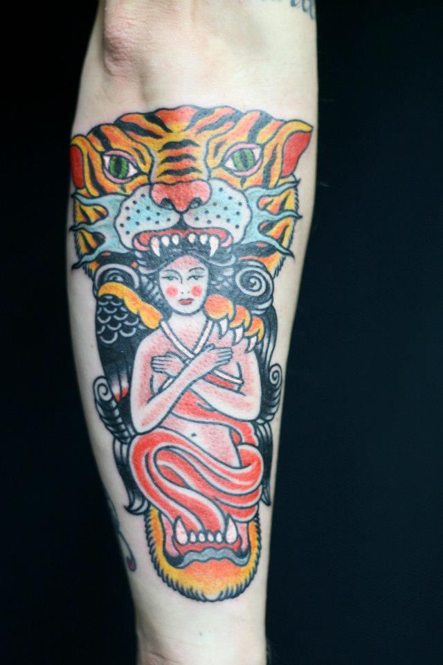 Traditional Tattoo Tiger tattoo Rhys Gordon Sydney tattoo.jpg