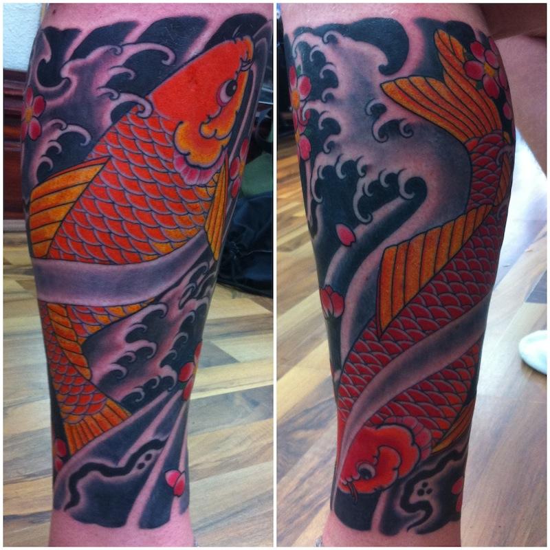 Koi tattoo Red koi Japanese tattooing Sydney Rhys Gordon.JPG