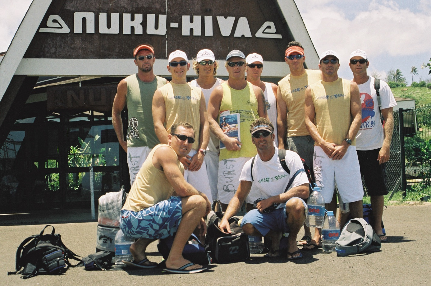 Team Outrigger Australia Marquesas Islands 2003.  Ultimately when you've paddled a few thousand miles together, toughed out hard fought on-water battles, endured high and lows, sacrificed untold time with loved ones to do the thing you love and no doubt given your bank balance a good thrashing, it all comes down to 'mateship' as the Aussie's like to call it. This is an unspoken bond that makes it an  'all for one and one for all'  mentality that relies upon a foundation of dependability upon one another to do one's best with no room for excuses for anything less.  This posting,   dedicated to the memory of Todd Murray (centre with KC Steering Book). RIP you good thing. You were a rock to the end and an inspiration.  Photo Steve West. Marquesas story Volume 10 2004  Free To Read