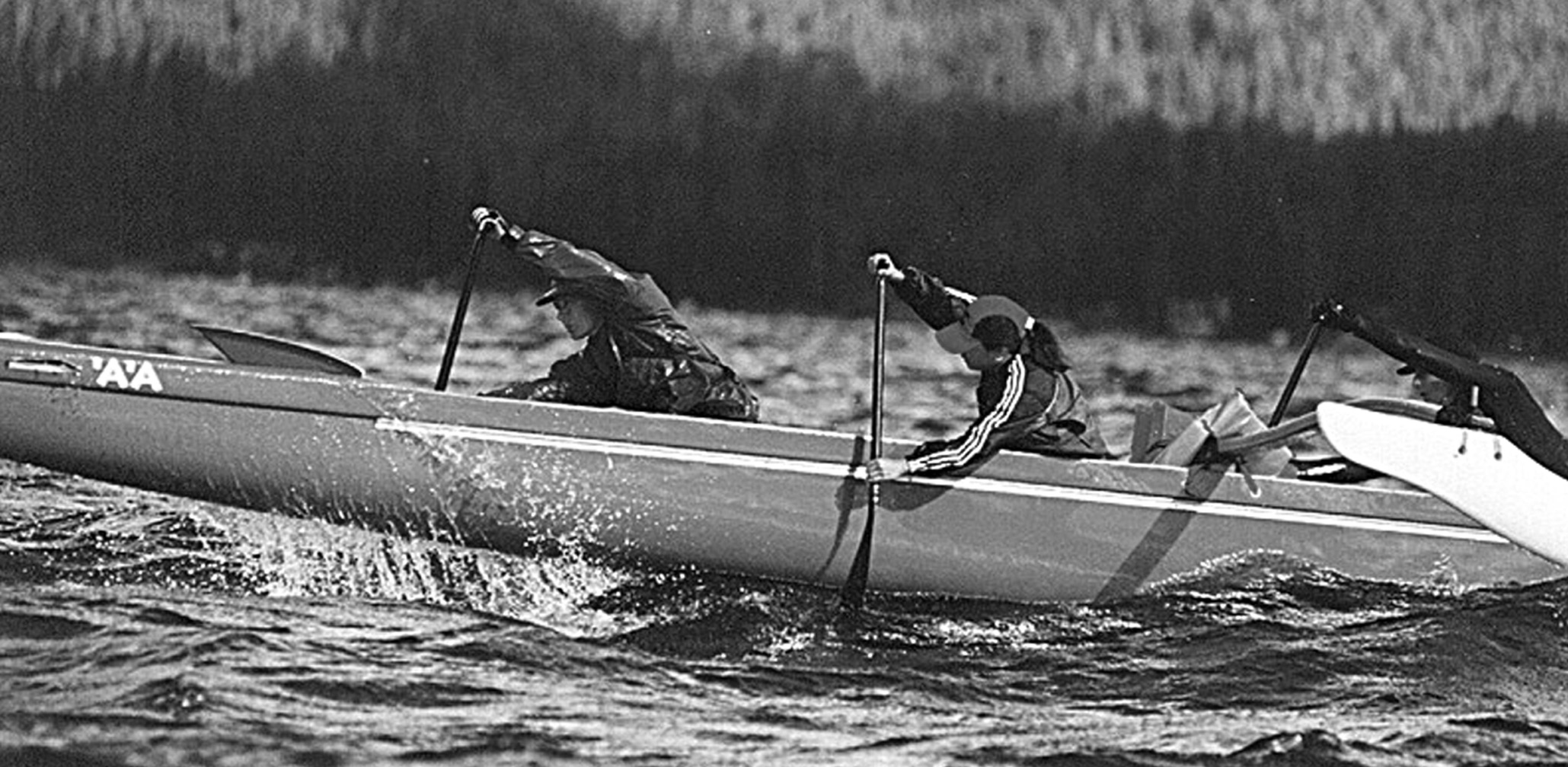 Racing on Lake Tahoe California - All carbon paddles, before 'hybrids' existed.