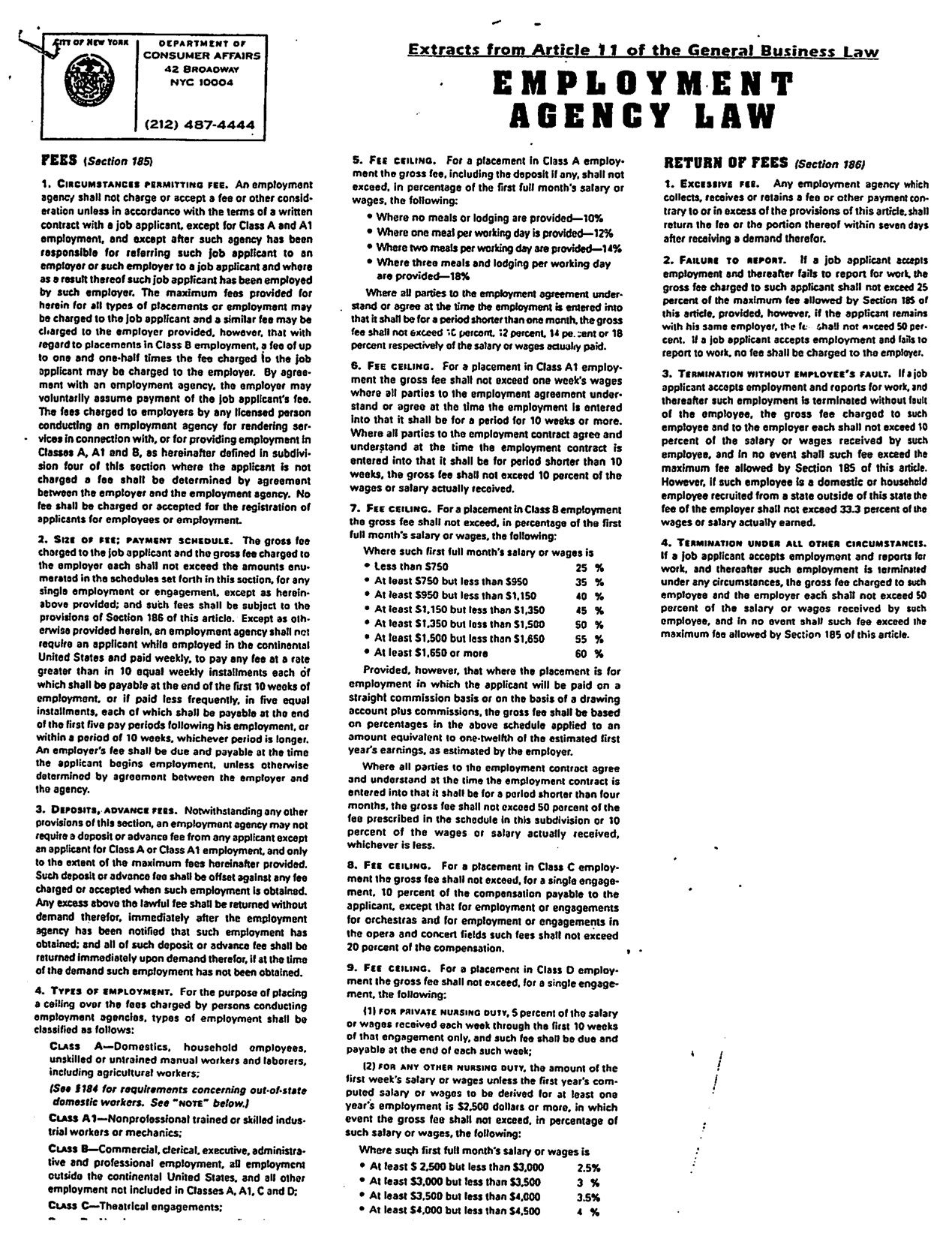Laws of New York General Business Article 11, excerpt of Sections 185 and 186 of the New York State Employment Agency Law.