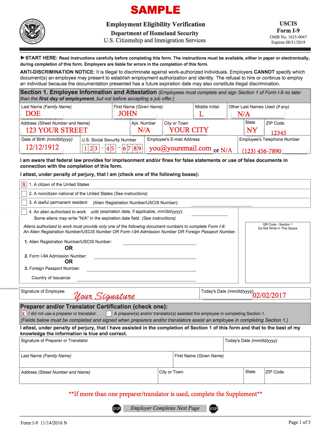 Sample I-9 form for reference only.