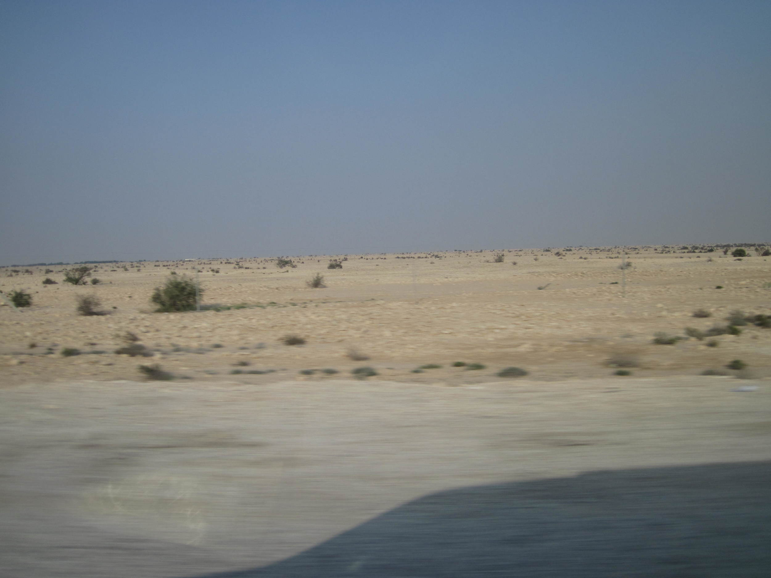 Blue skies over Qatar. The sky is usually more beige than blue.