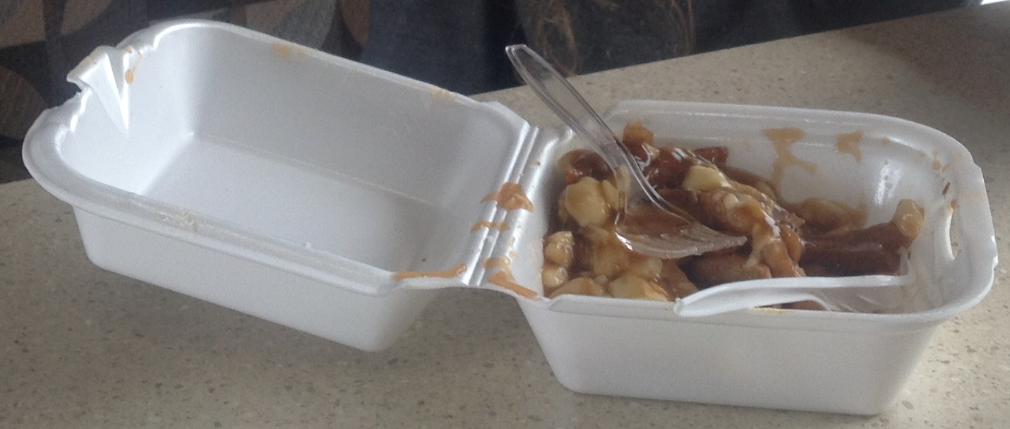 "Decidedly unhealthy ""poutine"" in Quebec.  (poutine = french fries, gravy and curd cheese)."