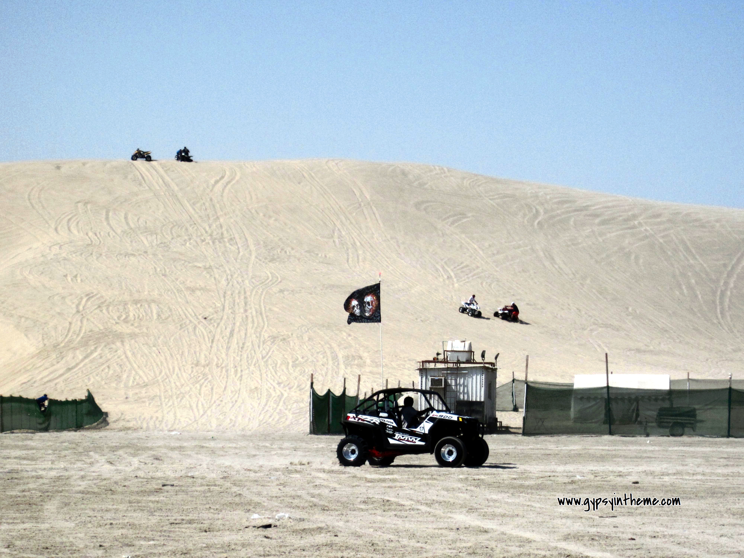 Desert campsite and sand duning.