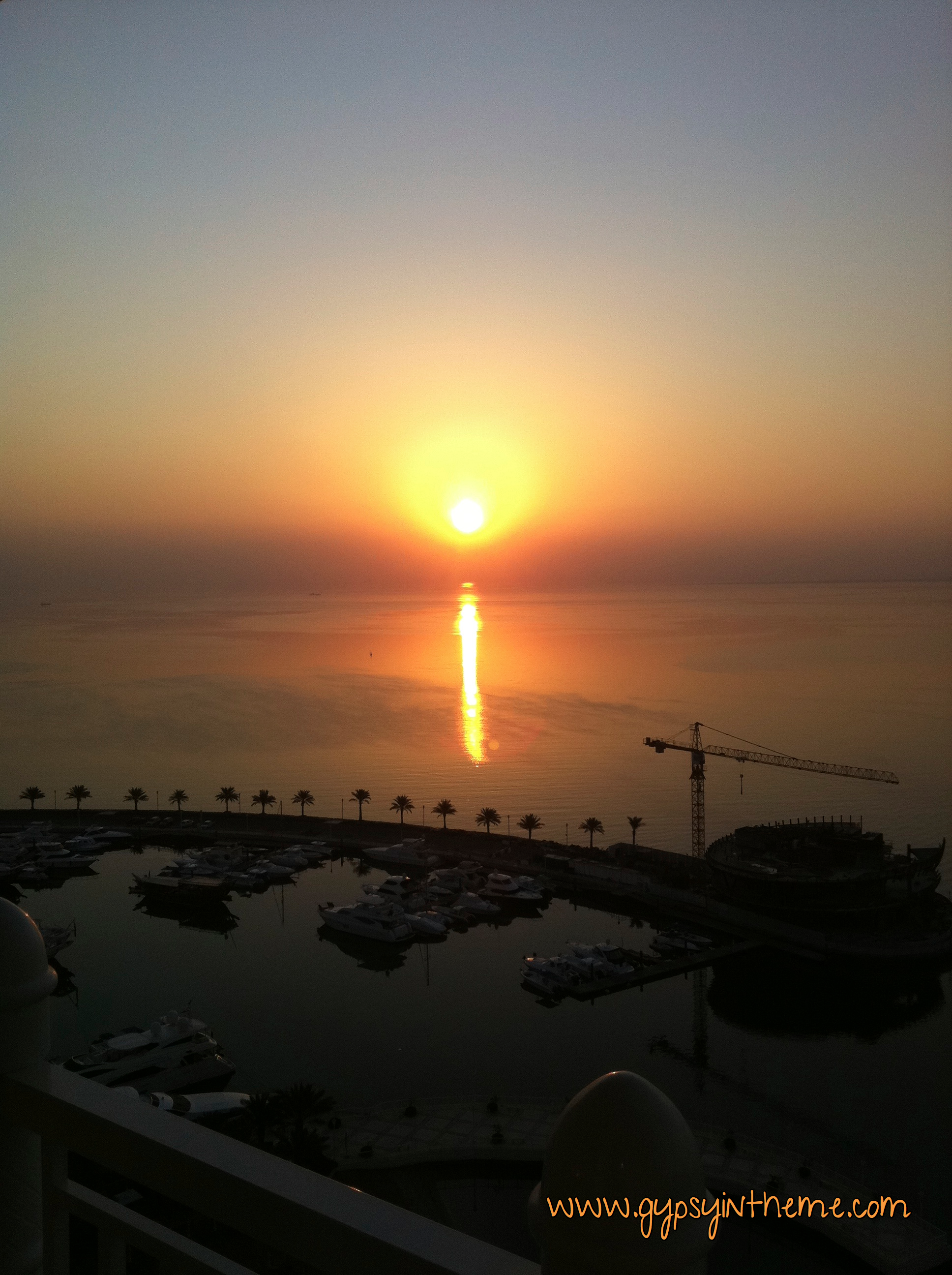 Marina at sunset as seen from the Four Seasons Hotel in Doha.