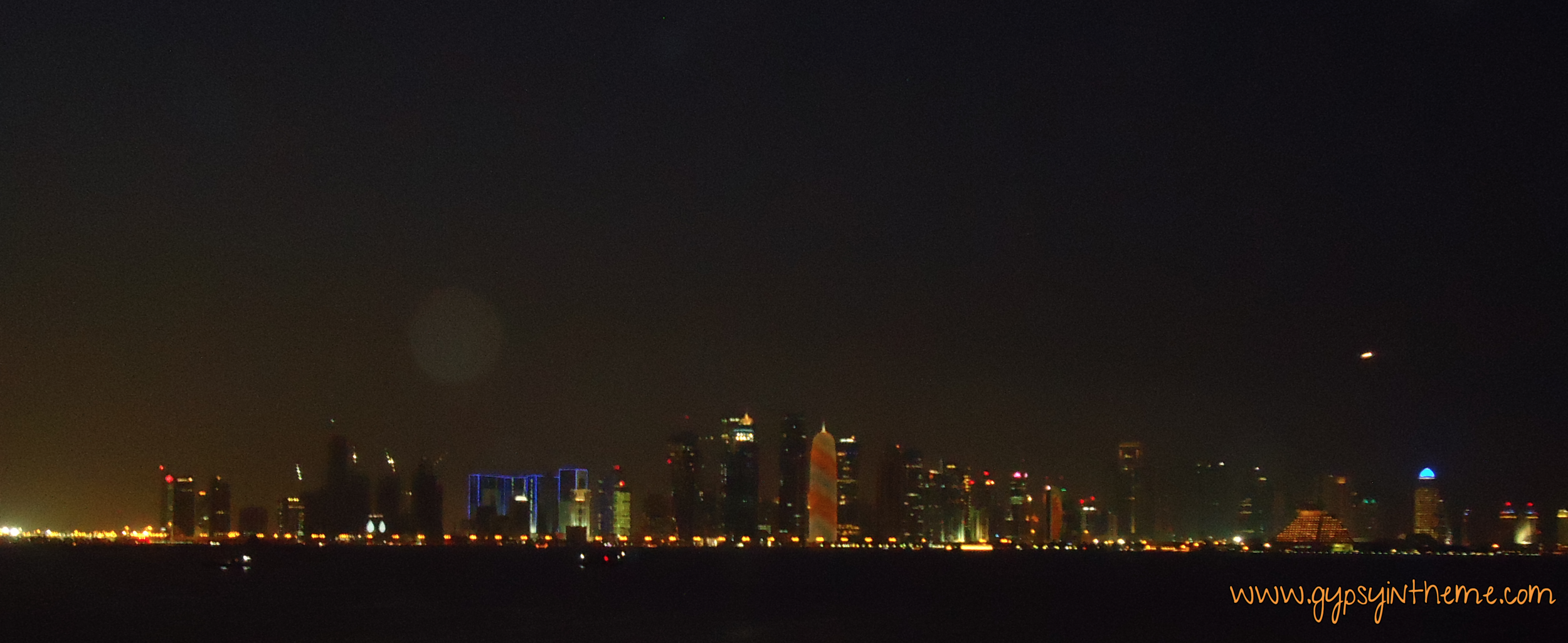 Doha Skyline at night as seen from the Museum of Islamic Arts.