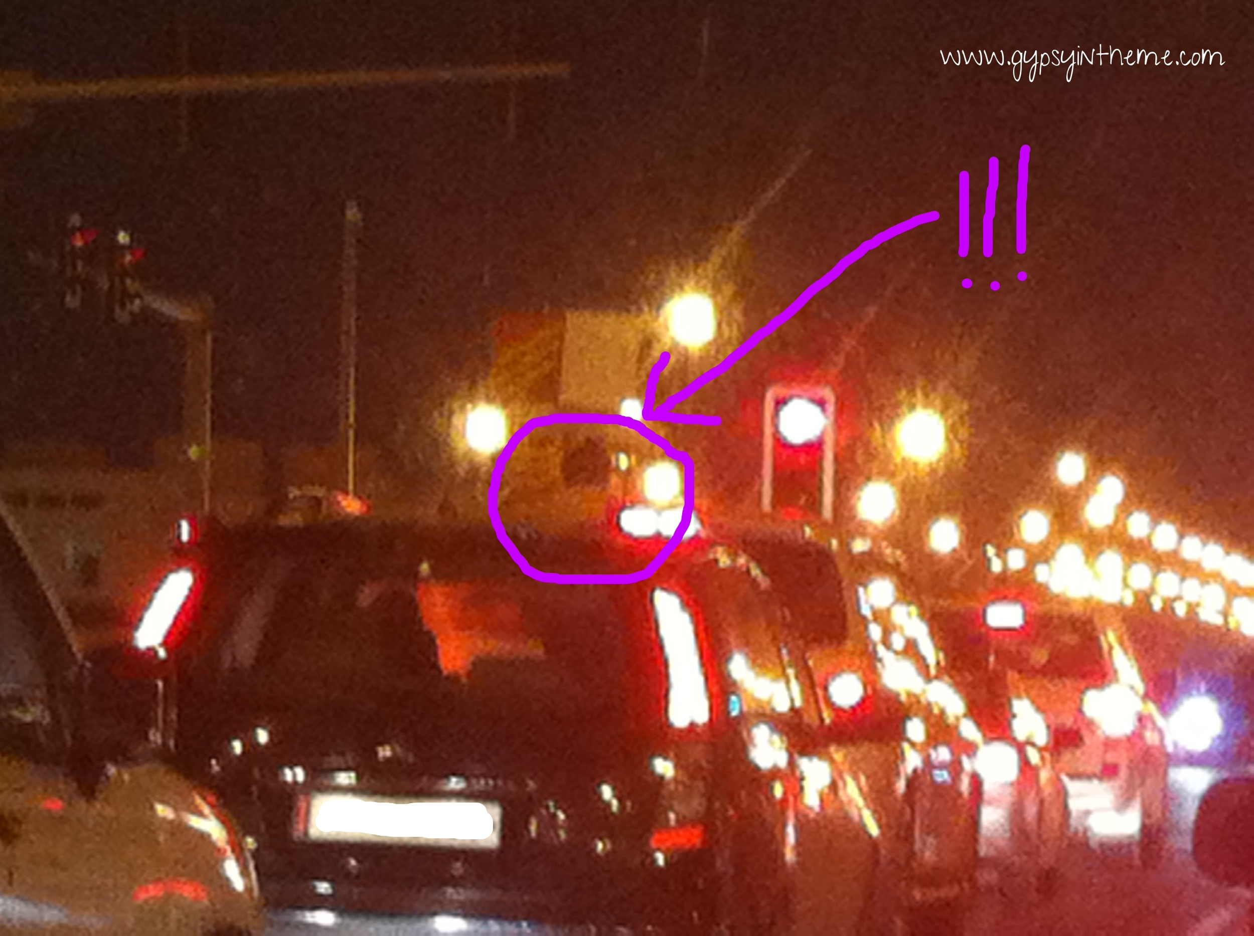 Hard to see in the image … but this was a child of about 3 climbing out the sunroof in traffic directly in front of me.