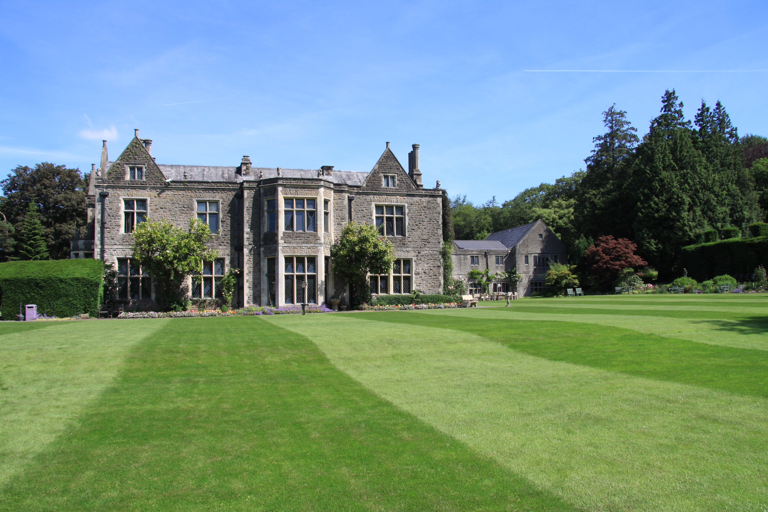 Side view of Miskin Manor, in Cardiff, Wales.