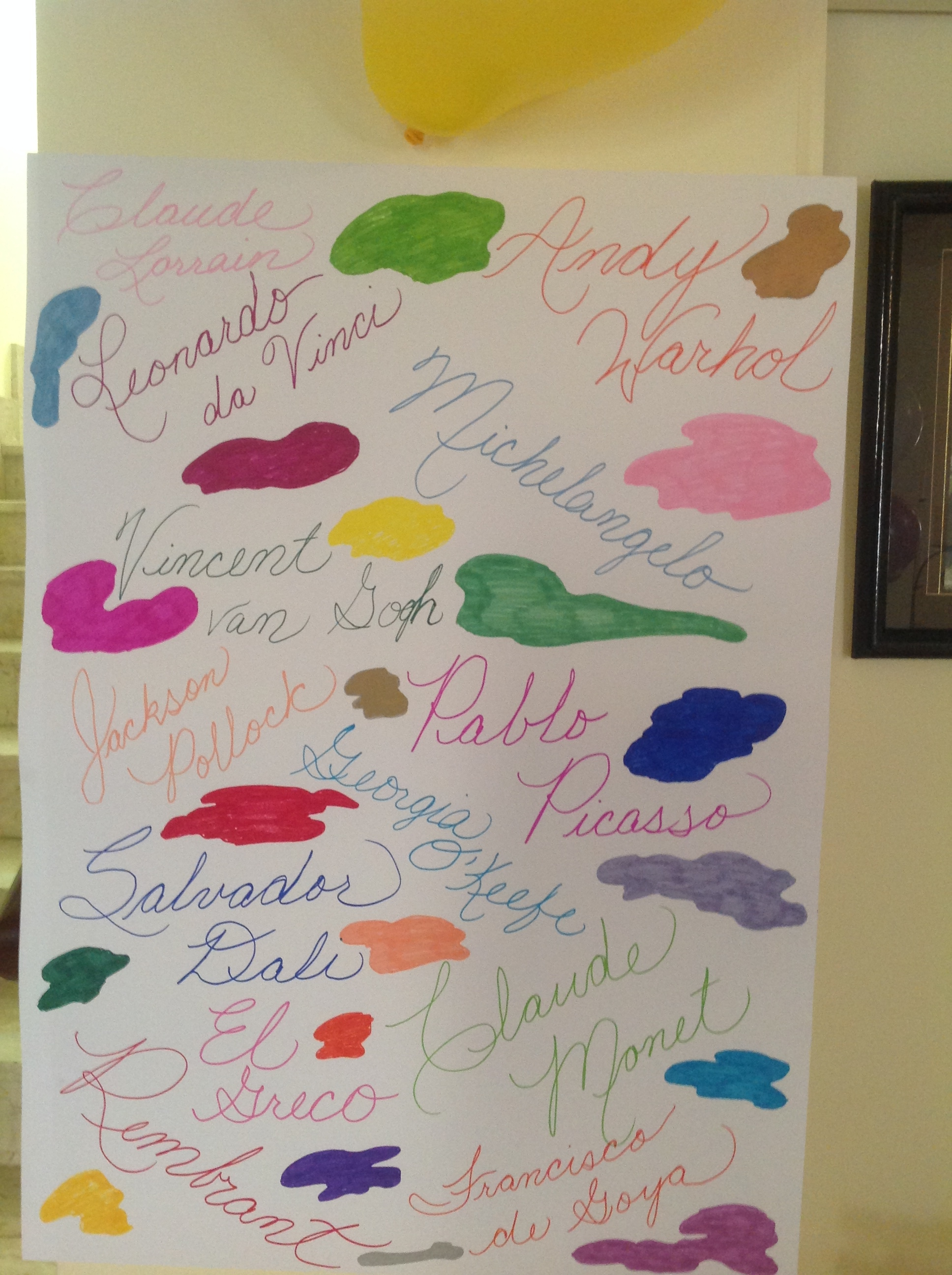 Poster for Kiddo's painting party, held in May this year, 2 months ahead of time.