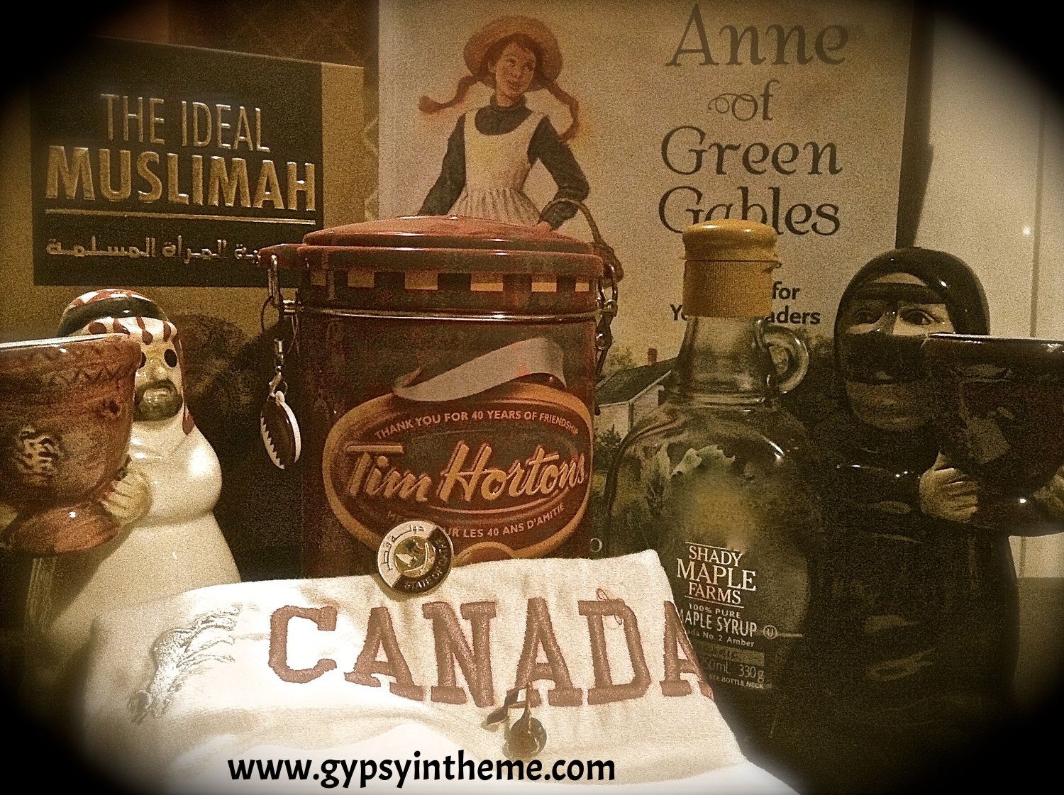 Trying to depict some of the many contrasts of being a Canadian woman working in the Middle East ... savoury and sweet, black and white, the iconic Canadian little rebel (Anne of Green Gables) and the Ideal Muslimah.
