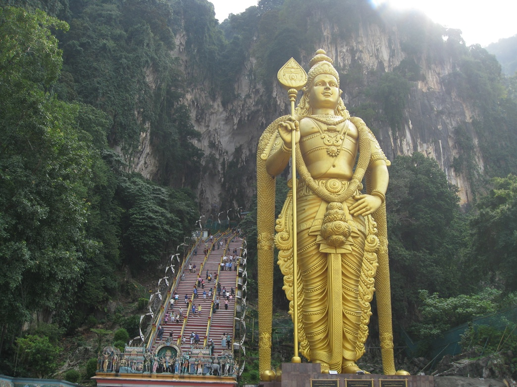 The idol at the base of the steps