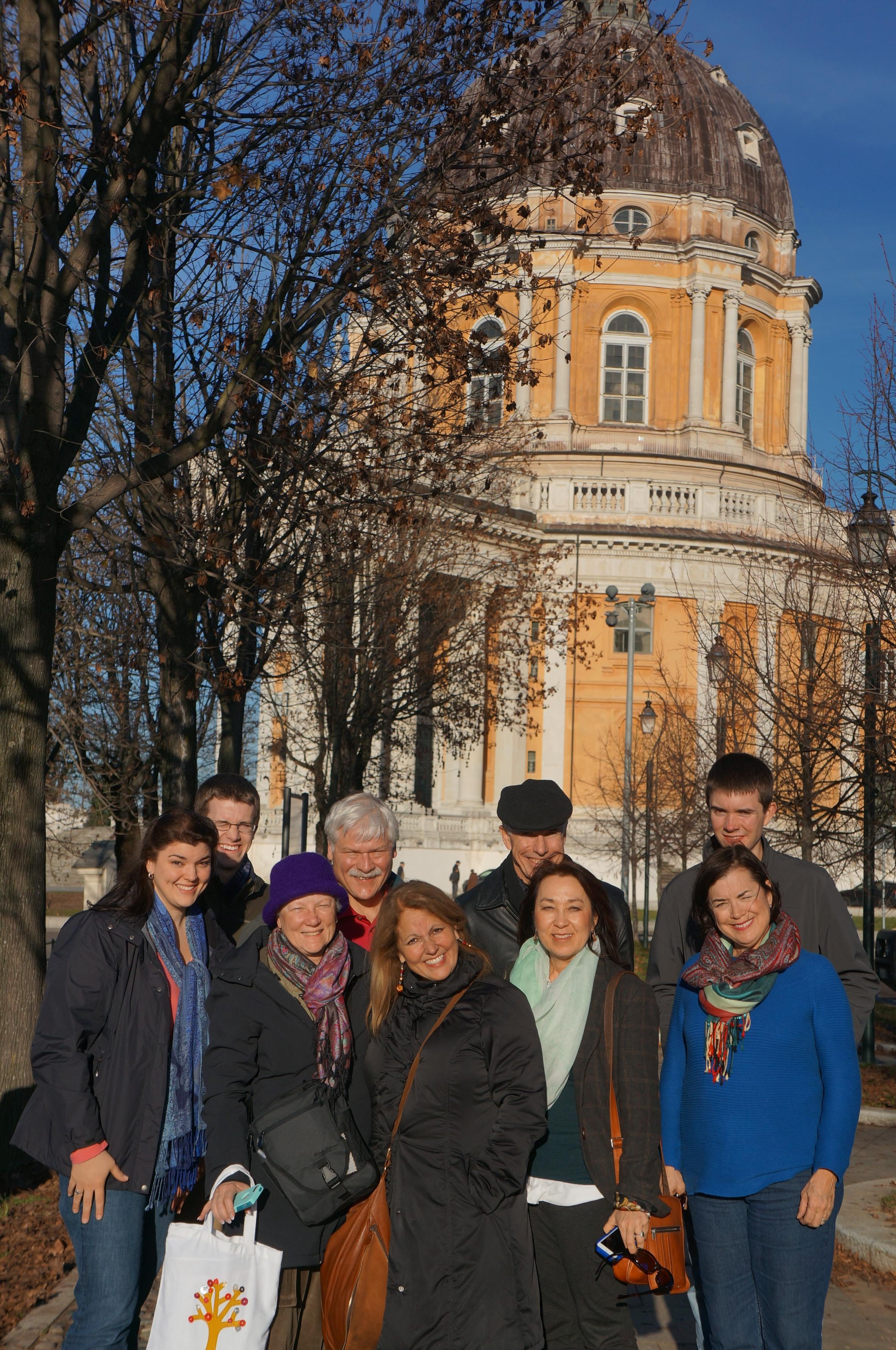 The team visits the Roman Catholic church at Superga