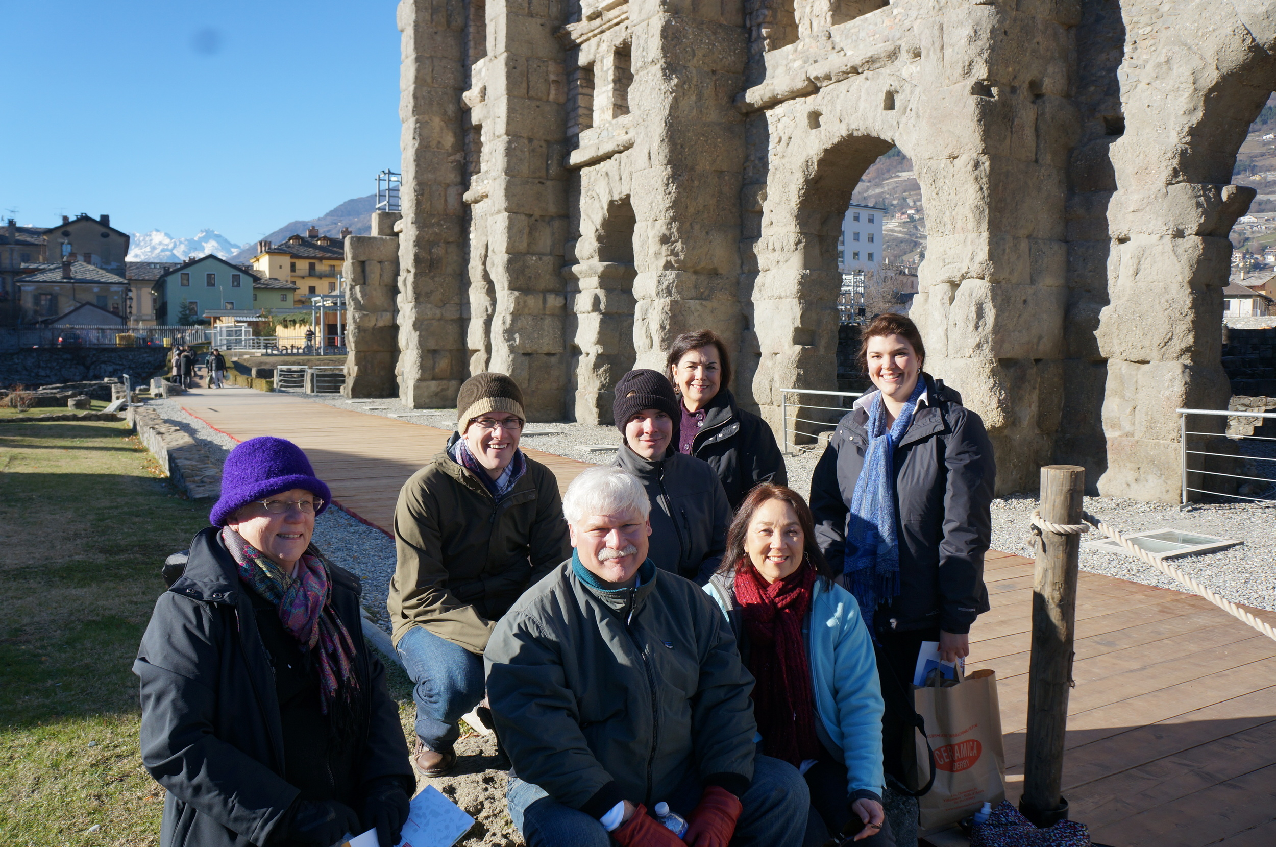 Team in Aosta, outside the Roman Theater