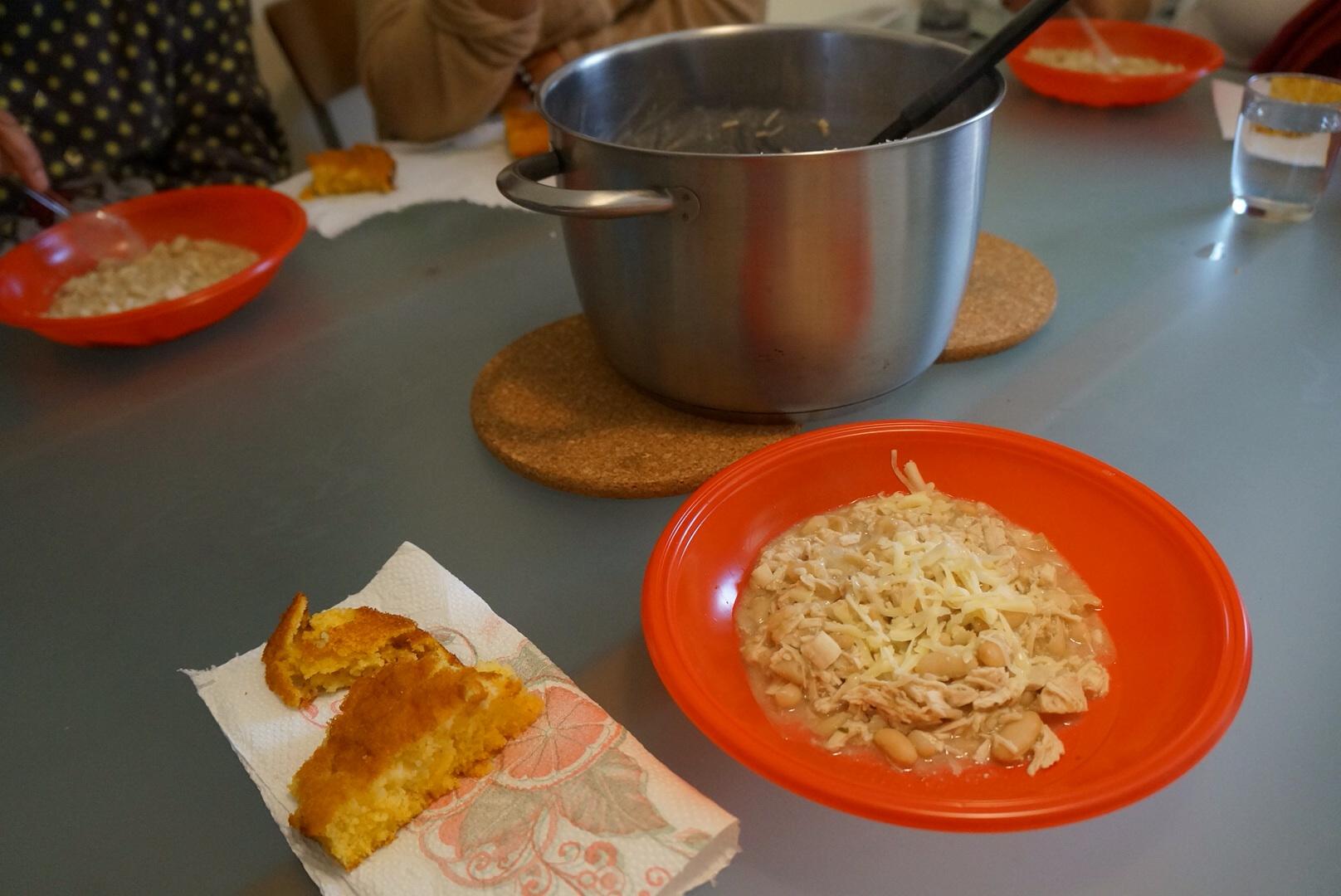 White chili and cornbread