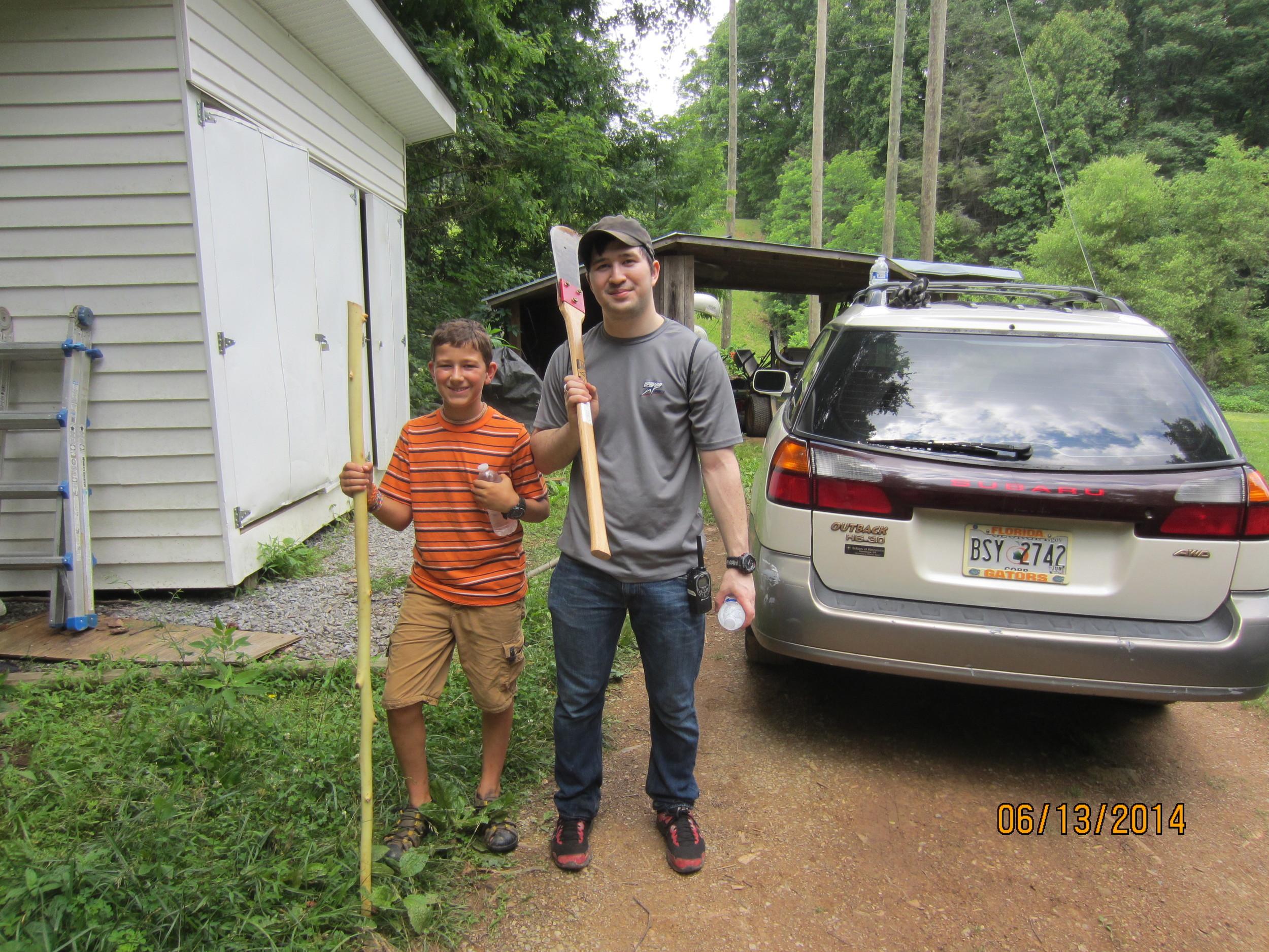 The horse trail maintenance crew. Jack McDonald and Pierce White.