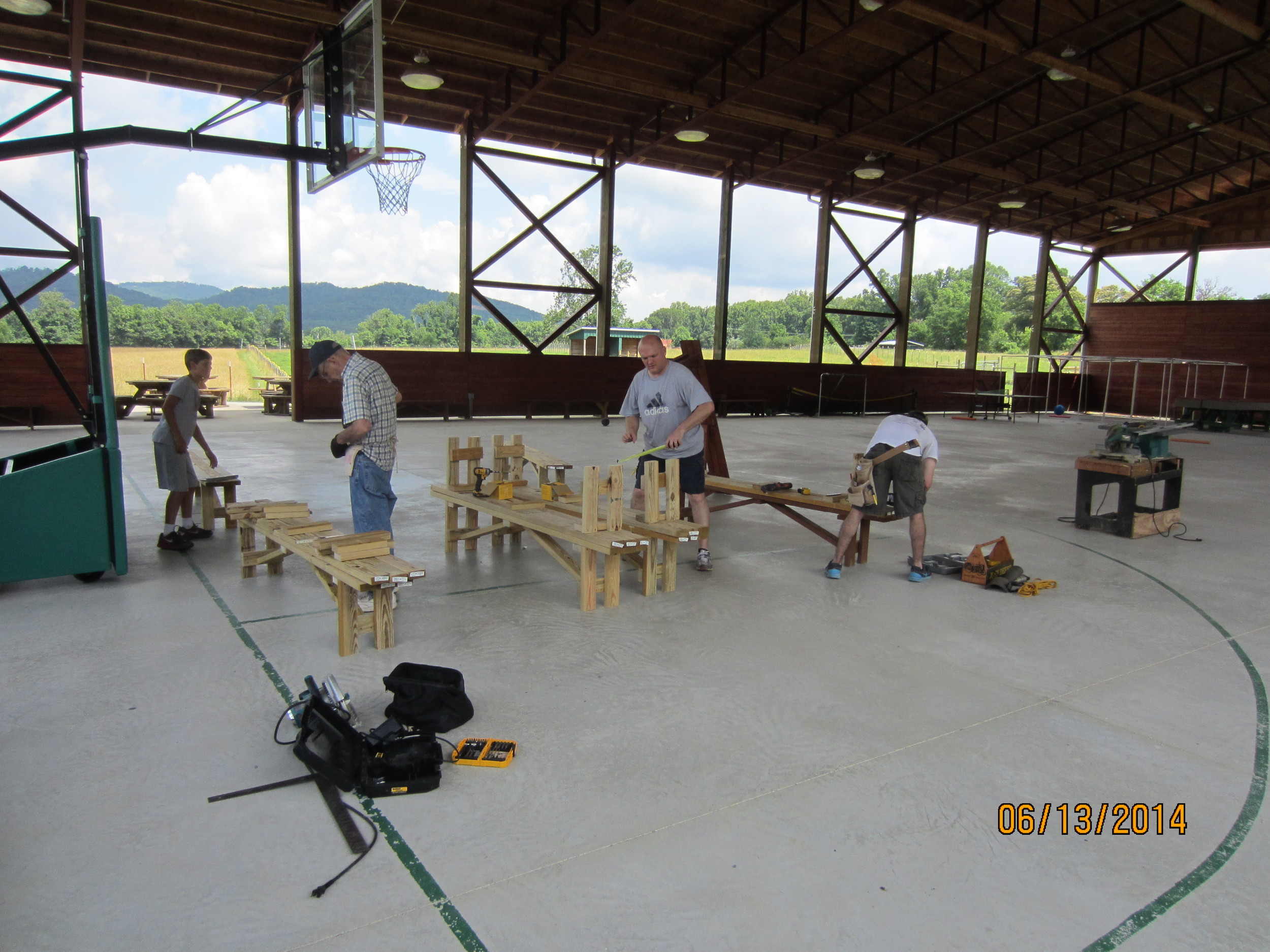 Building benches, Will McDonald, Fred Allen, Evan Stout and Phillip Stout.