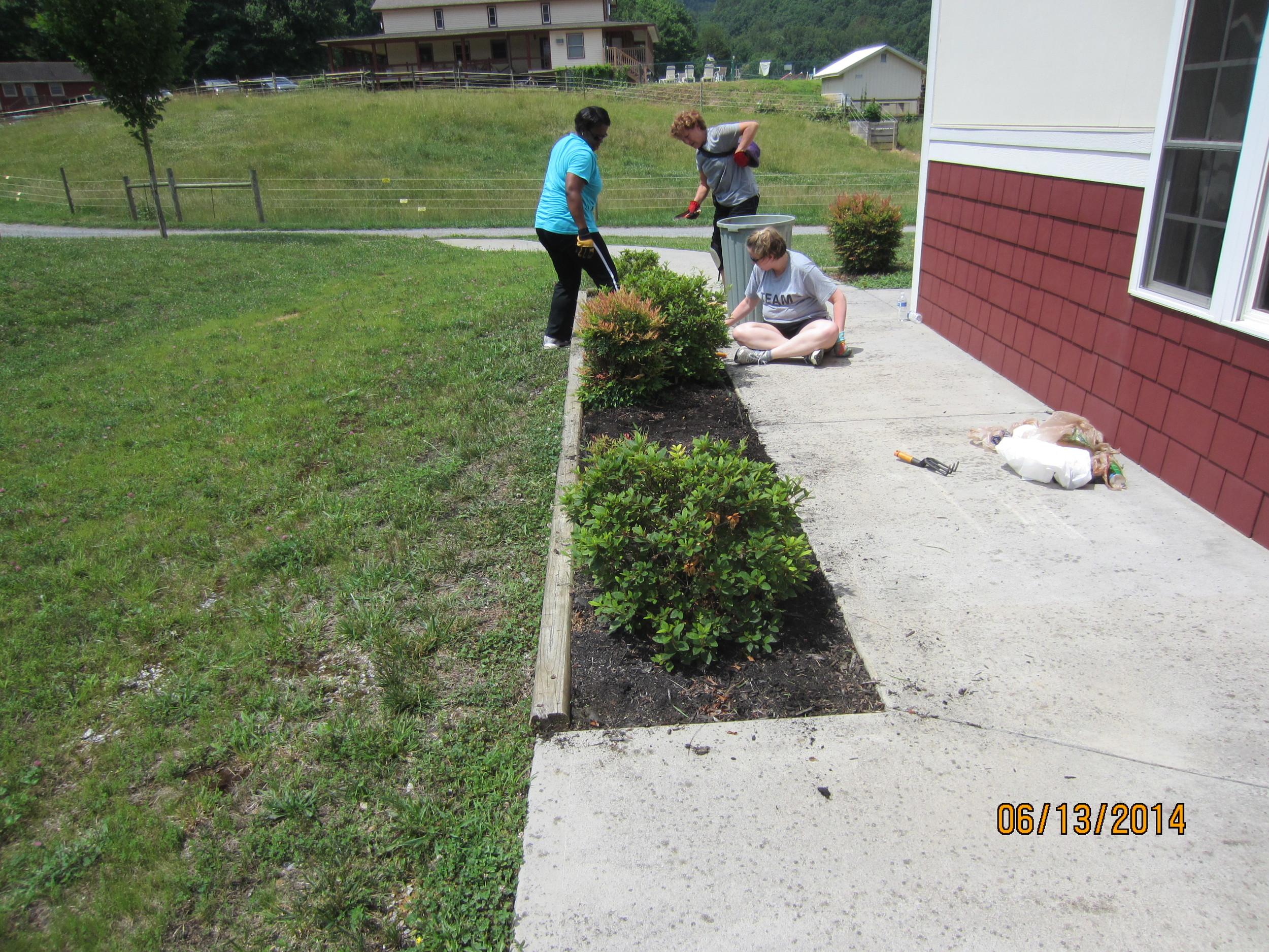 More weeding at the science building, Demetria Utley, Lauren Pearle and Nanci Scott.