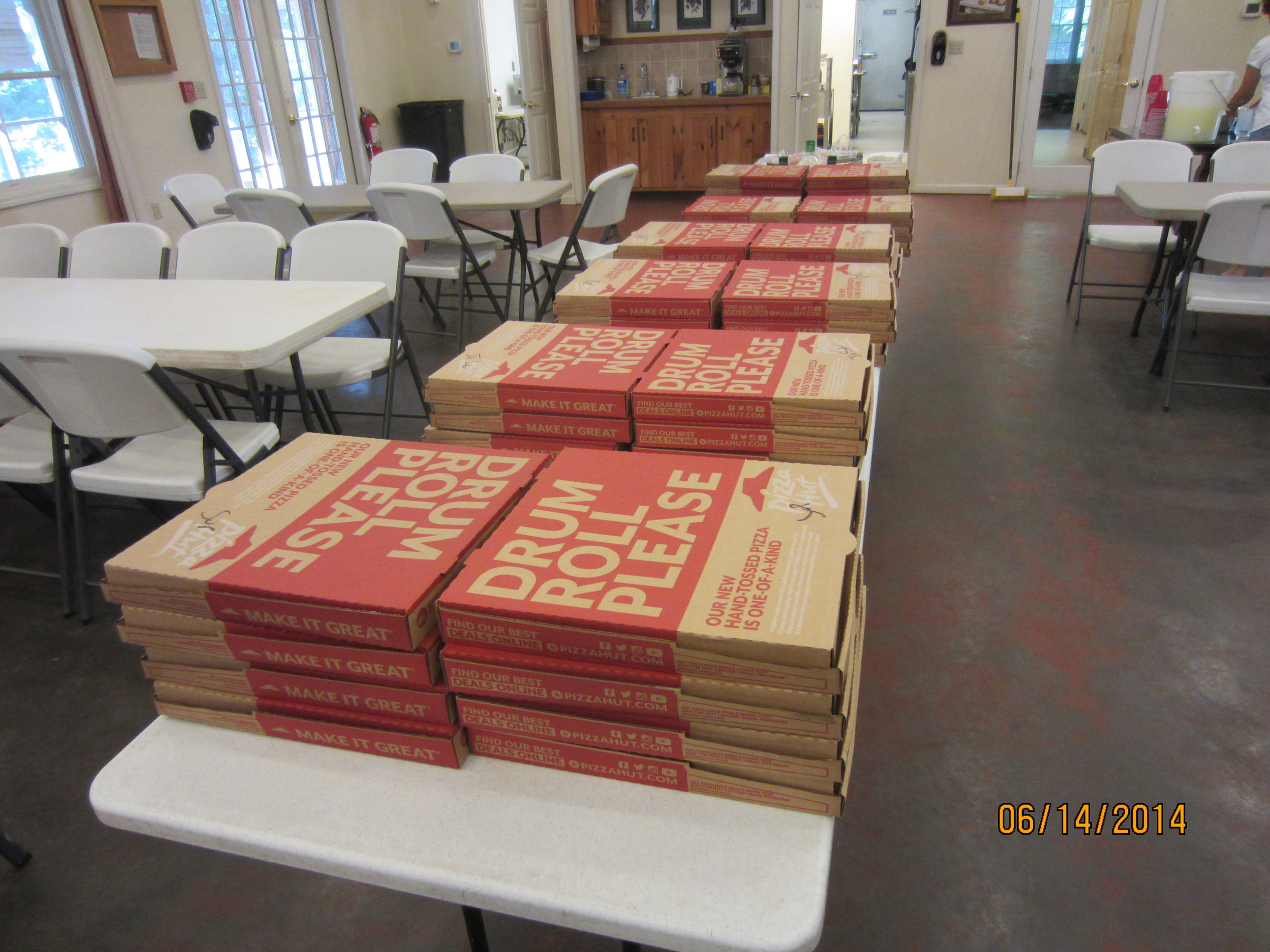 Yes, that is 40 pizzas, the local Pizza Hut was hoppin'.