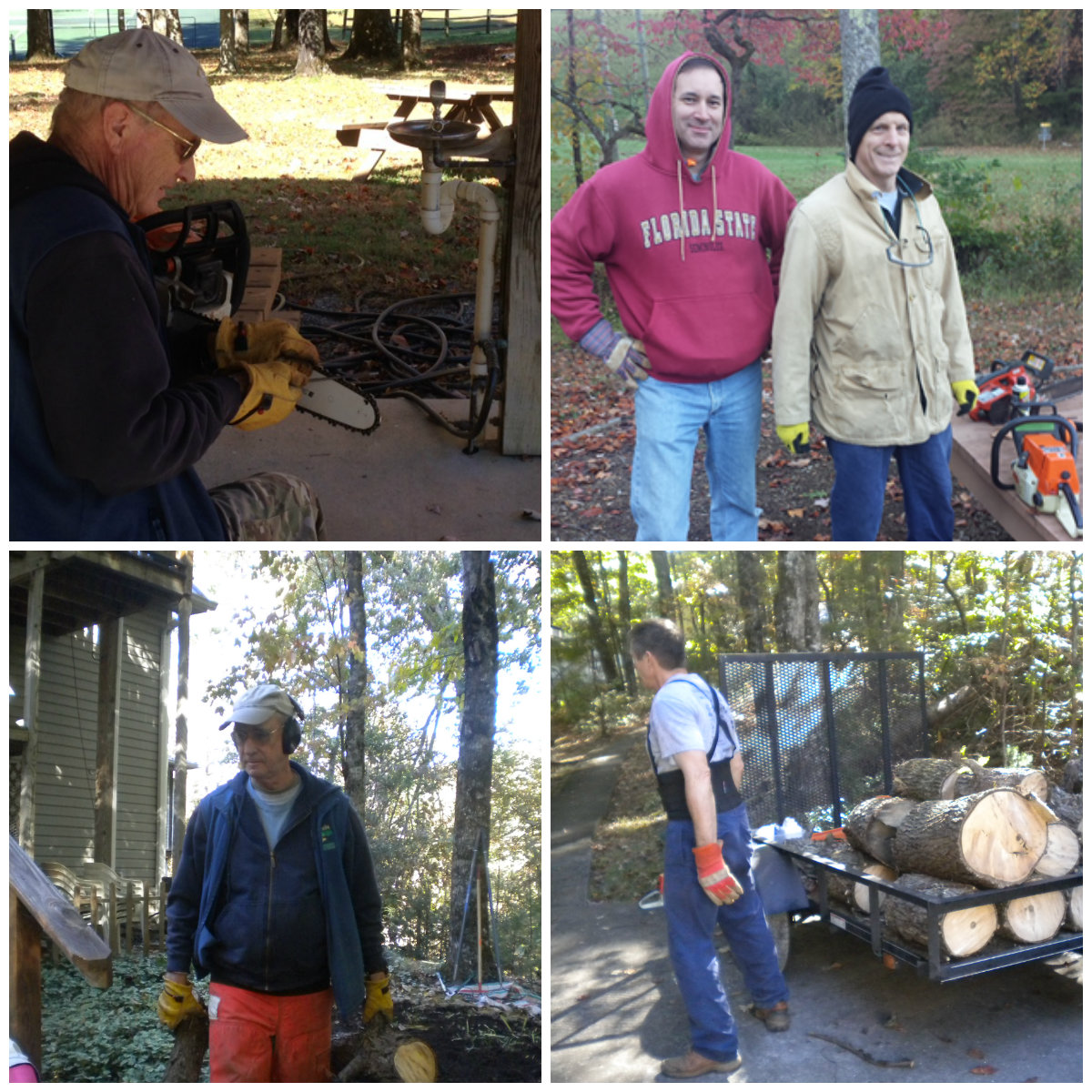 Tree Cutting Crew are dropping and cutting up several trees around the Ranch. TEAM MEMBERS: Jim Bishop, Sam Ehlers, and Rich Johnson.
