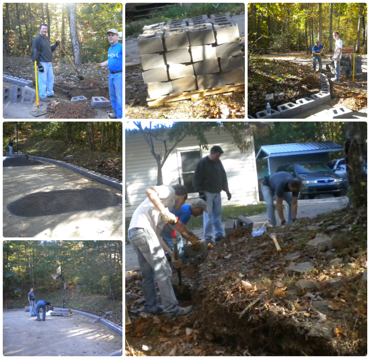 Retaining Wall Replacement @ Christopher House Crew building a 90 foot long 2.5 foot high mortar-less block wall . TEAM MEMBERS: David Lupcke, Tim Lupcke, Mark Stewart, and Tom Cheater.