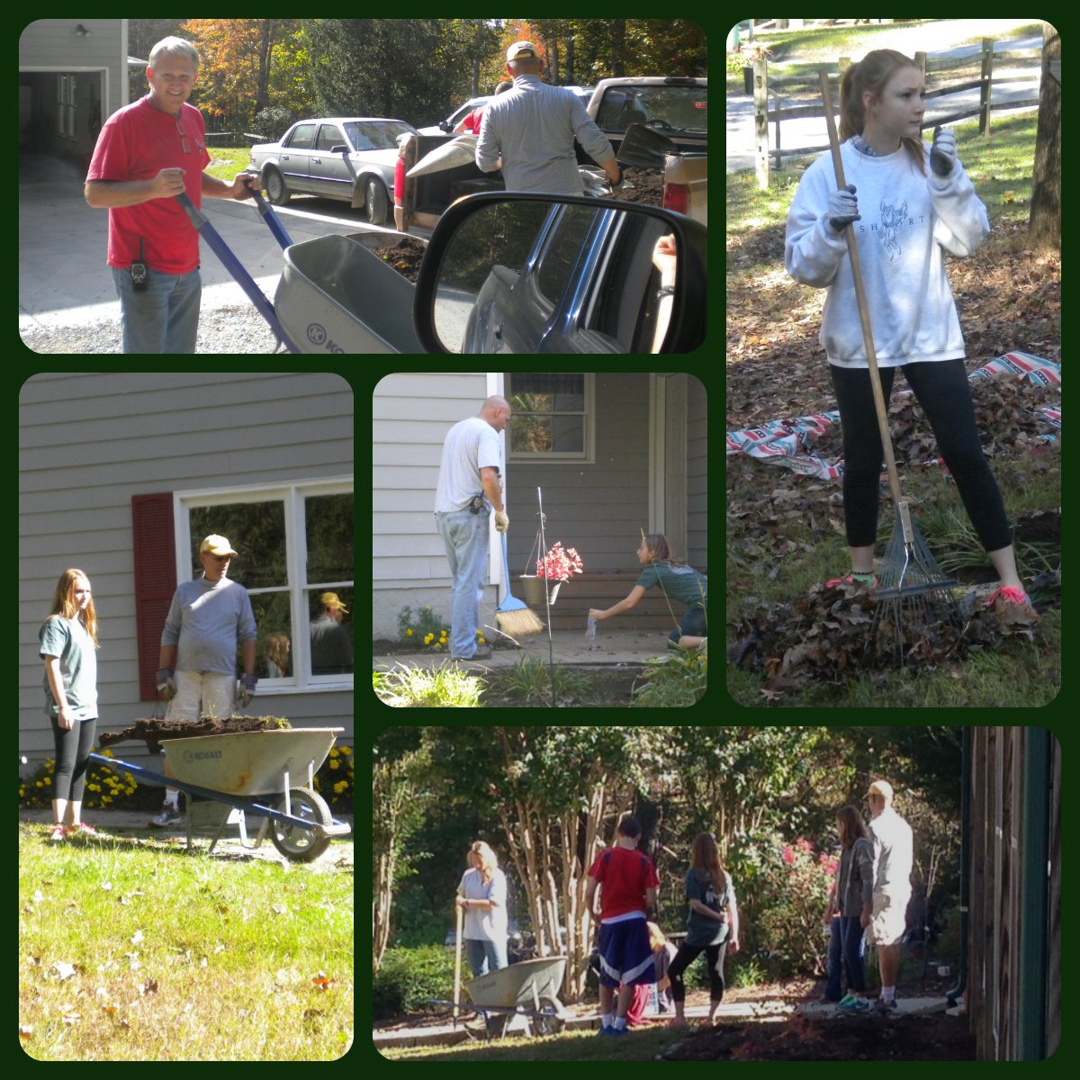THANK YOU: Kevin & Nancy Langston, Lee & Laura Height, Lynn & Mims Davis, Denice Lupcke, Carrie McAlear, Jocelyn Crumpton, and Maureen Collins AS WELL AS everyone who helped out as their projects were completed.