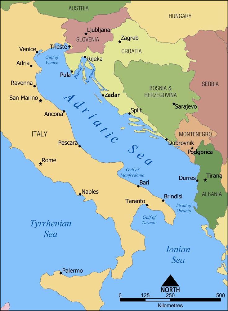 Albania is just North/West of Greece      and across the Strait of Otranto from Italy.