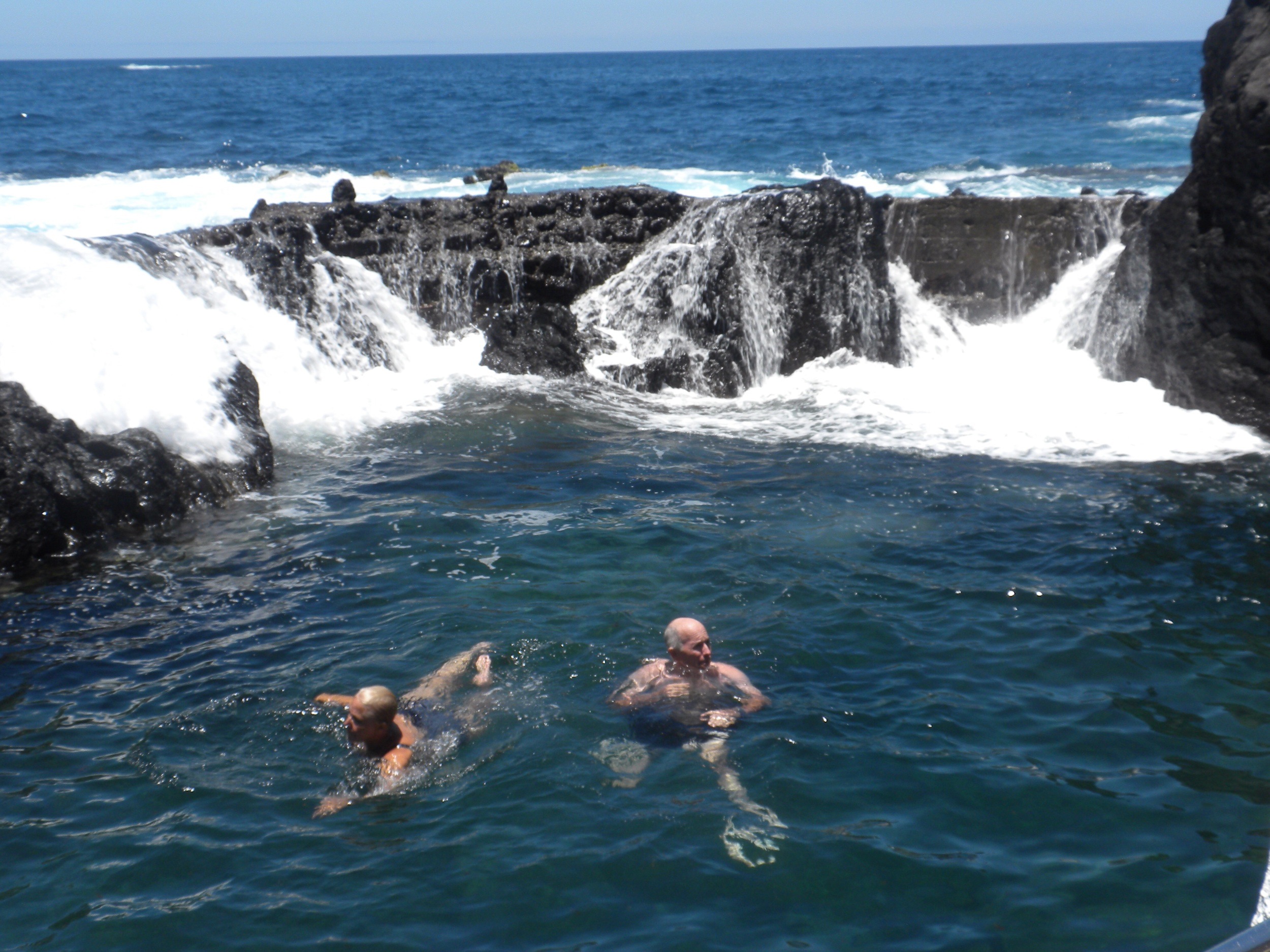 Some of our team members chose to swim in the cool Atlantic water in the volcanic pools.