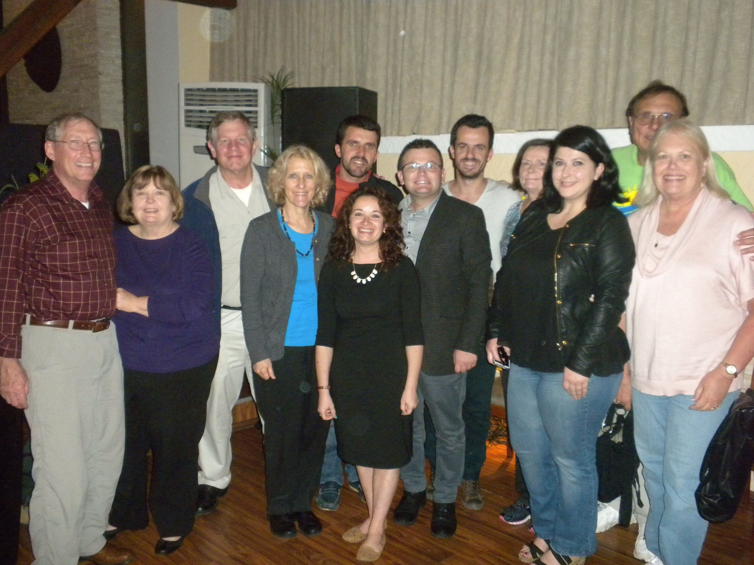 """Our Johnson Ferry team of seven with the Albanian Cru staff members after our """"Welcome Dinner"""""""