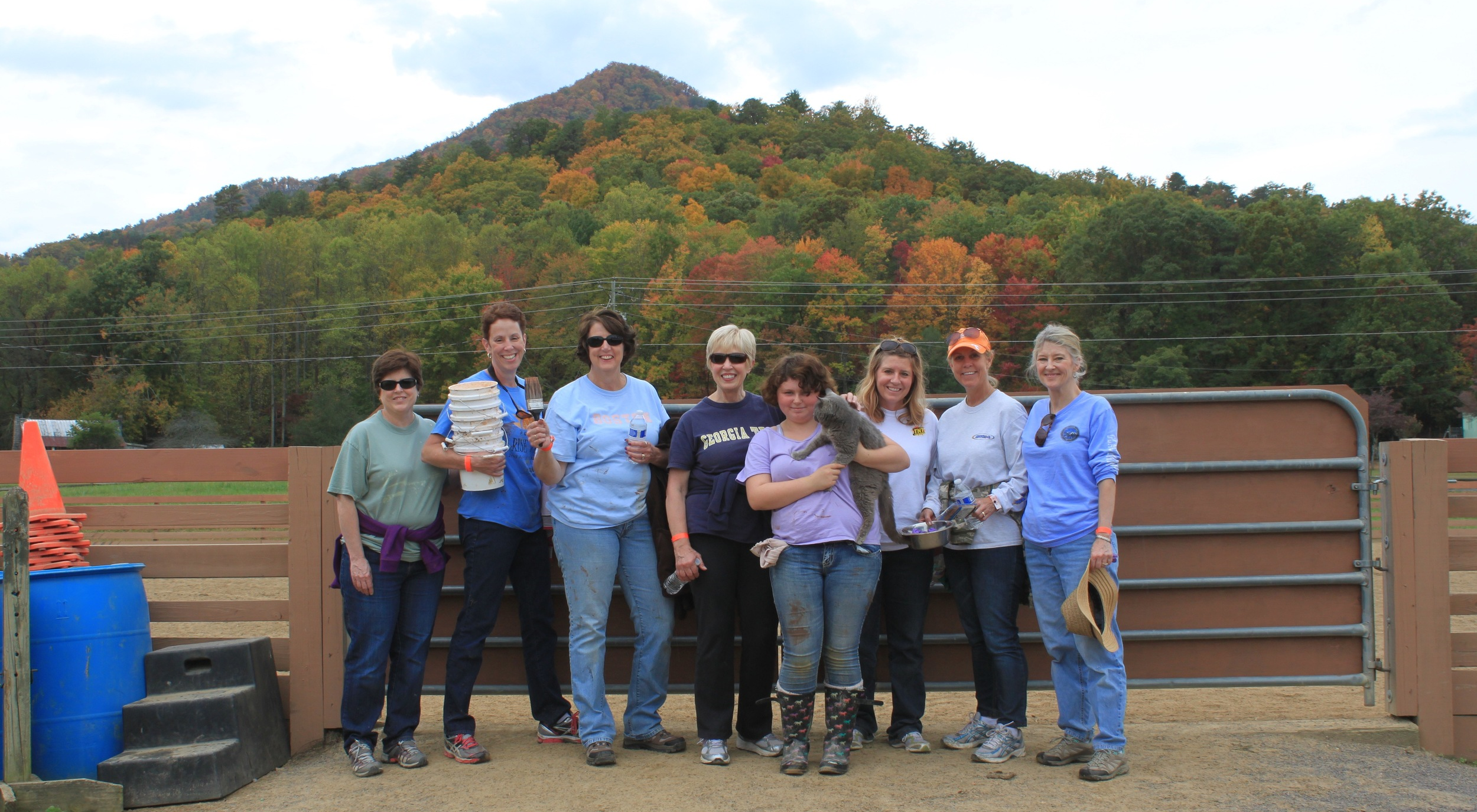 Here are the lovely ladies of the Staining Team after they finished staining the coral... featuring the barn cat.