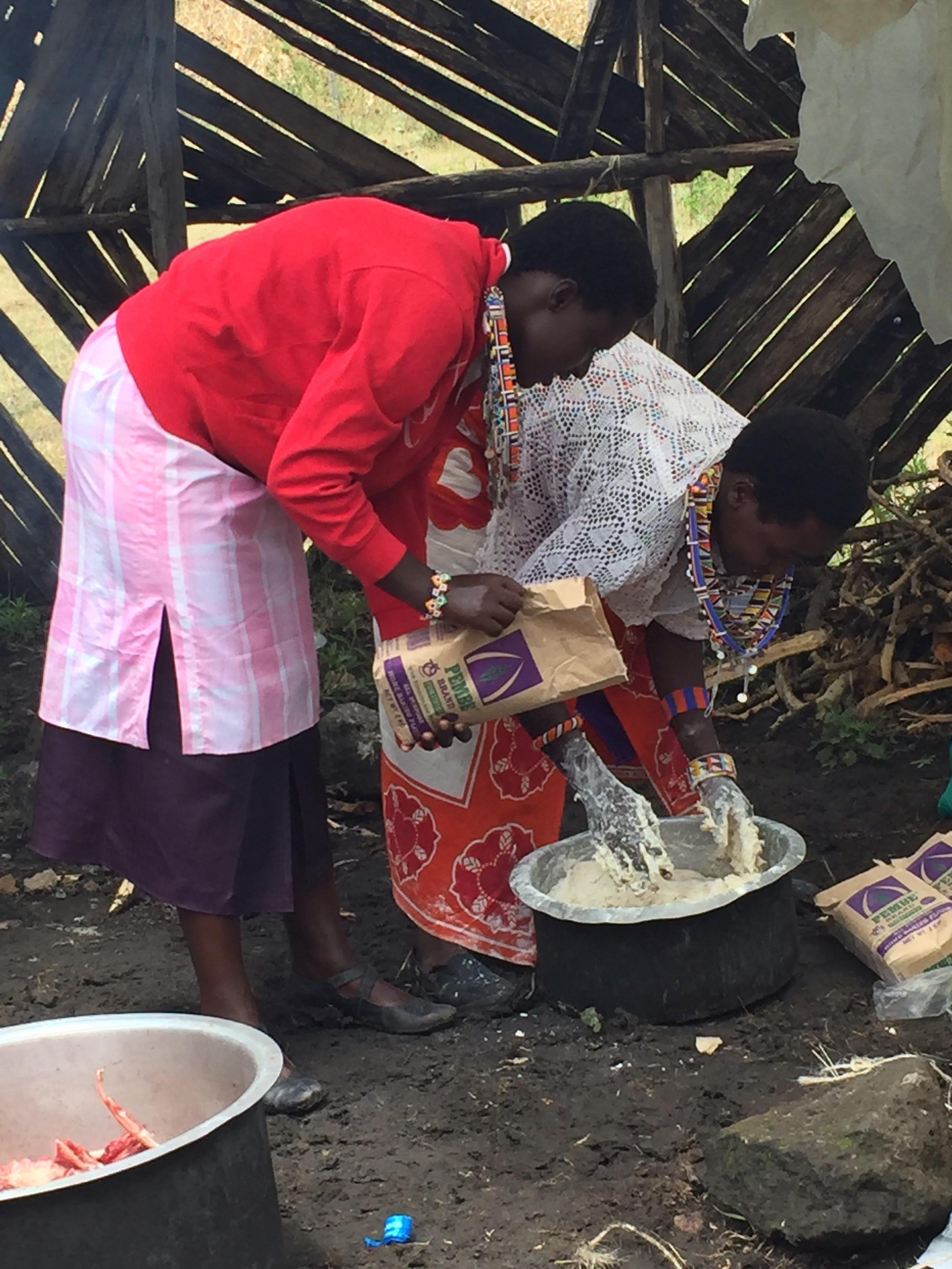 Masai women making Chapatti