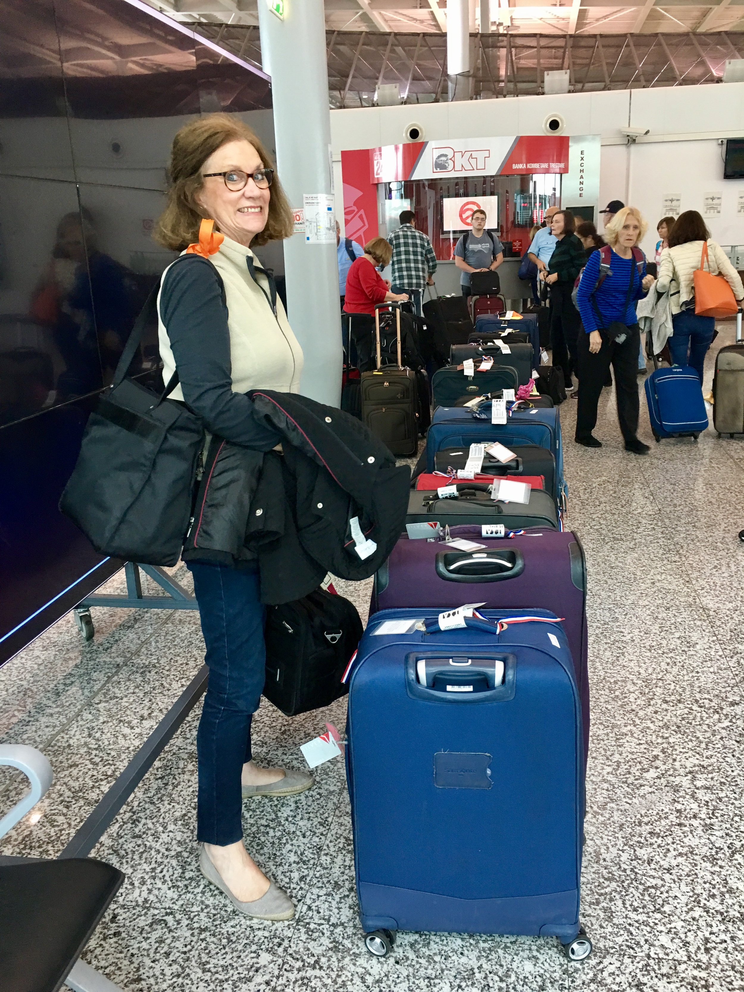 Thanks to Sherry's numbering of each suitcase before we left, we made sure that everything arrived!