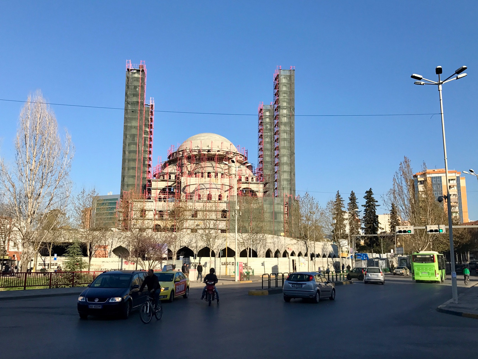 A HUGE mosque being constructed in the heart of Tirana