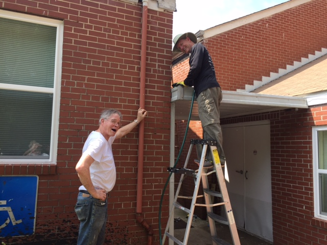 gutters being fixed.